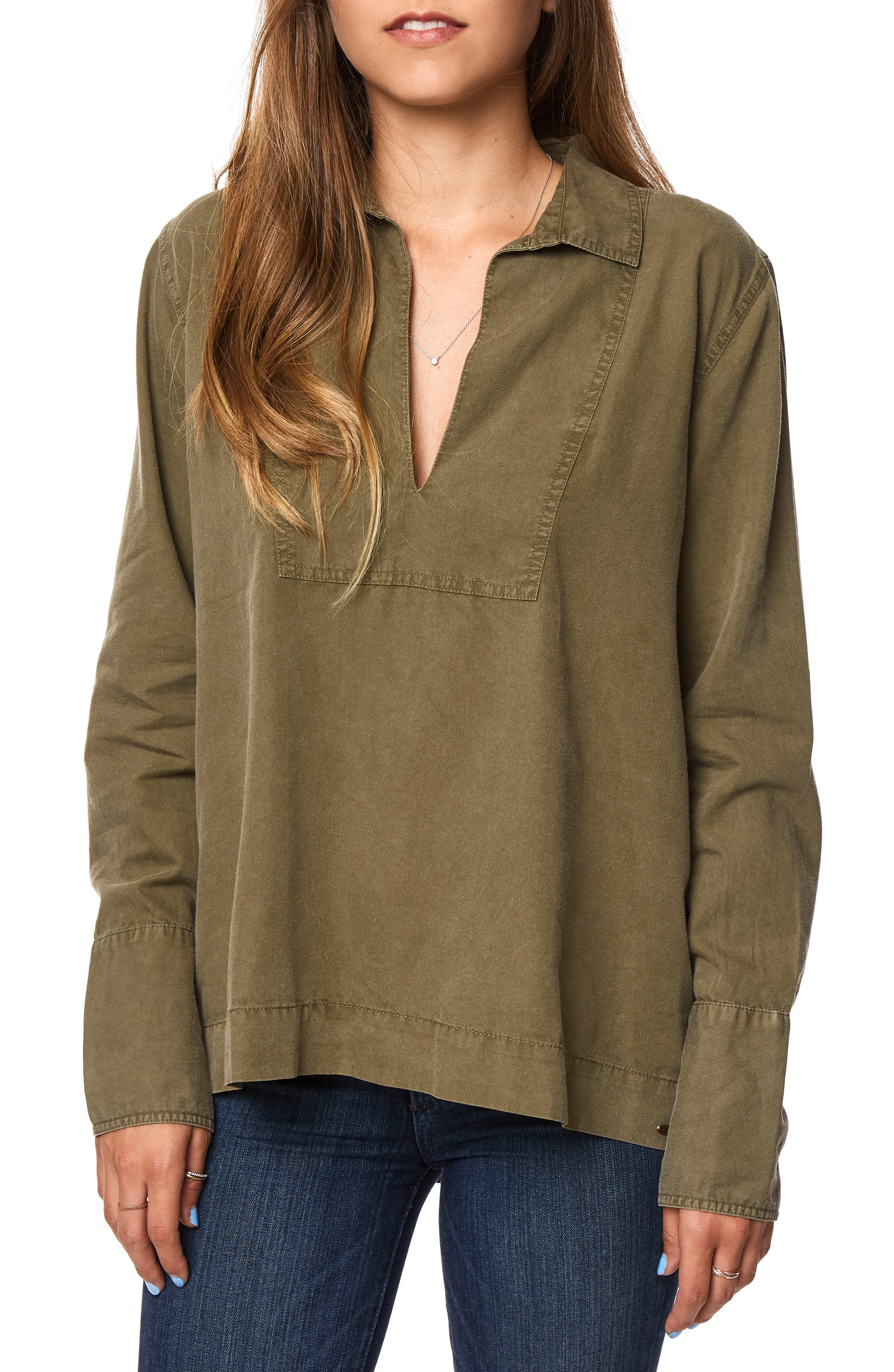 Court Popover Top,                             Main thumbnail 1, color,                             Military Olive - Olv