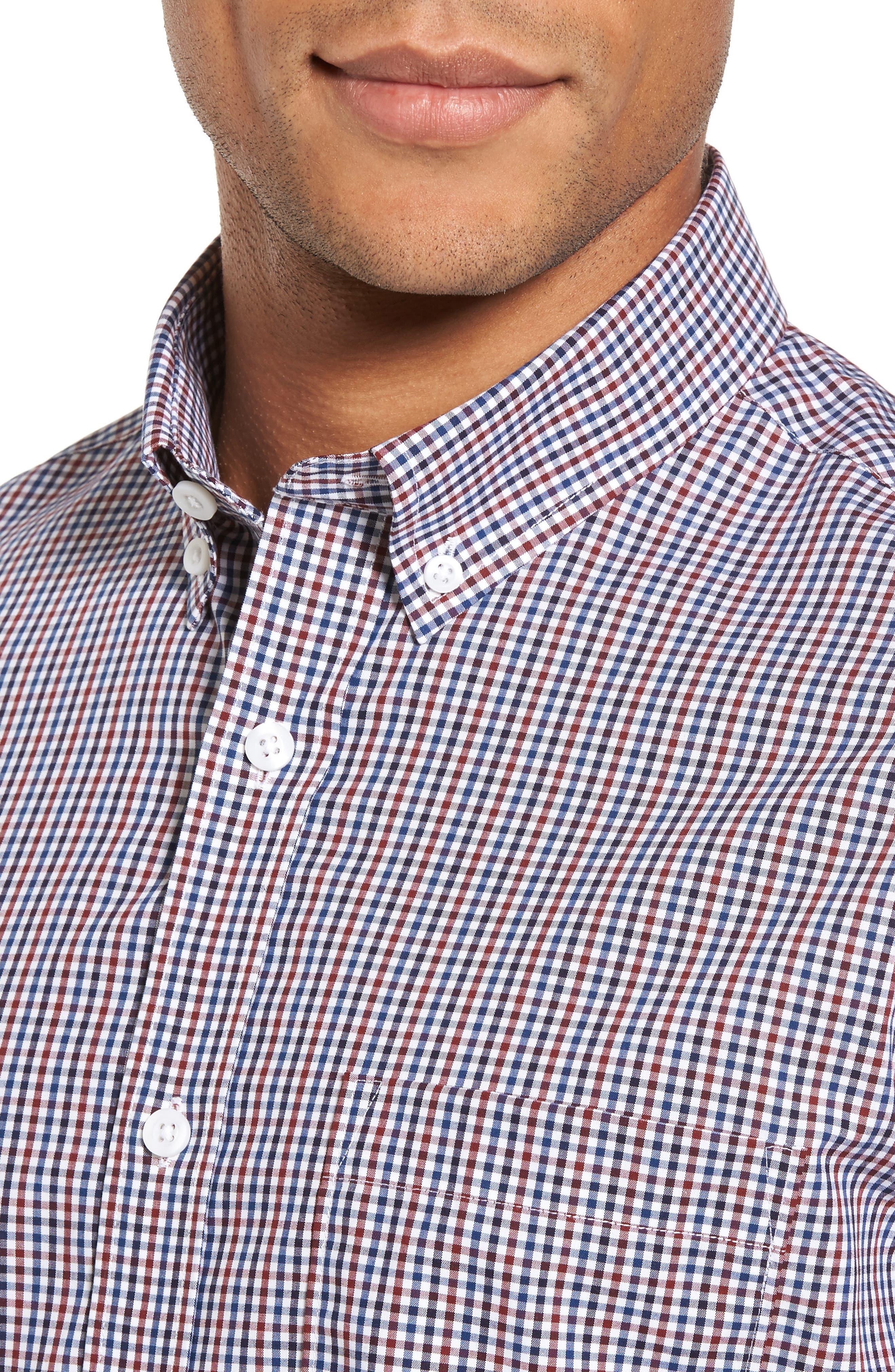 Spade Trim Fit Non-Iron Mini Check Sport Shirt,                             Alternate thumbnail 4, color,                             White Red Mini Check