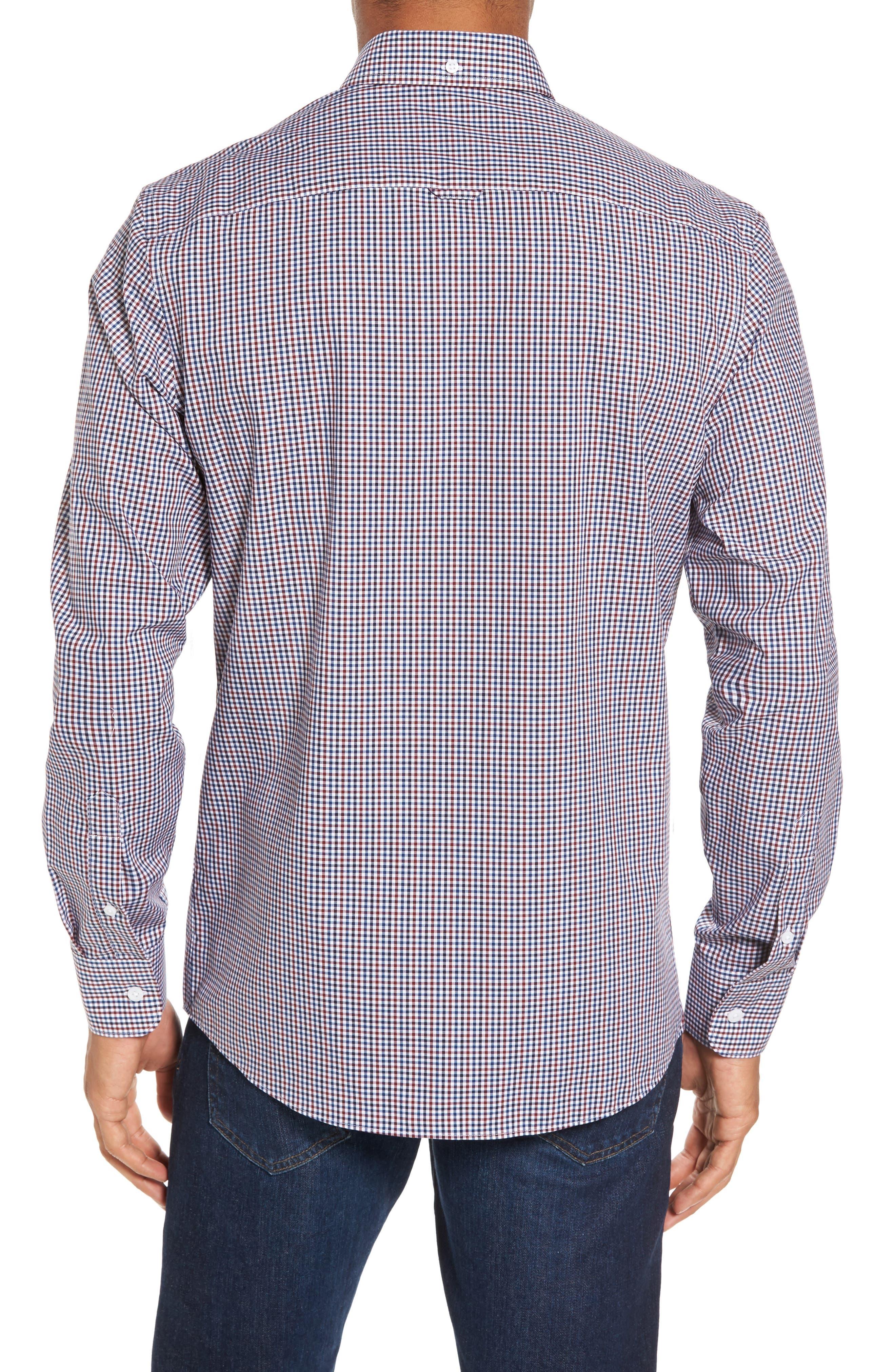 Spade Trim Fit Non-Iron Mini Check Sport Shirt,                             Alternate thumbnail 2, color,                             White Red Mini Check
