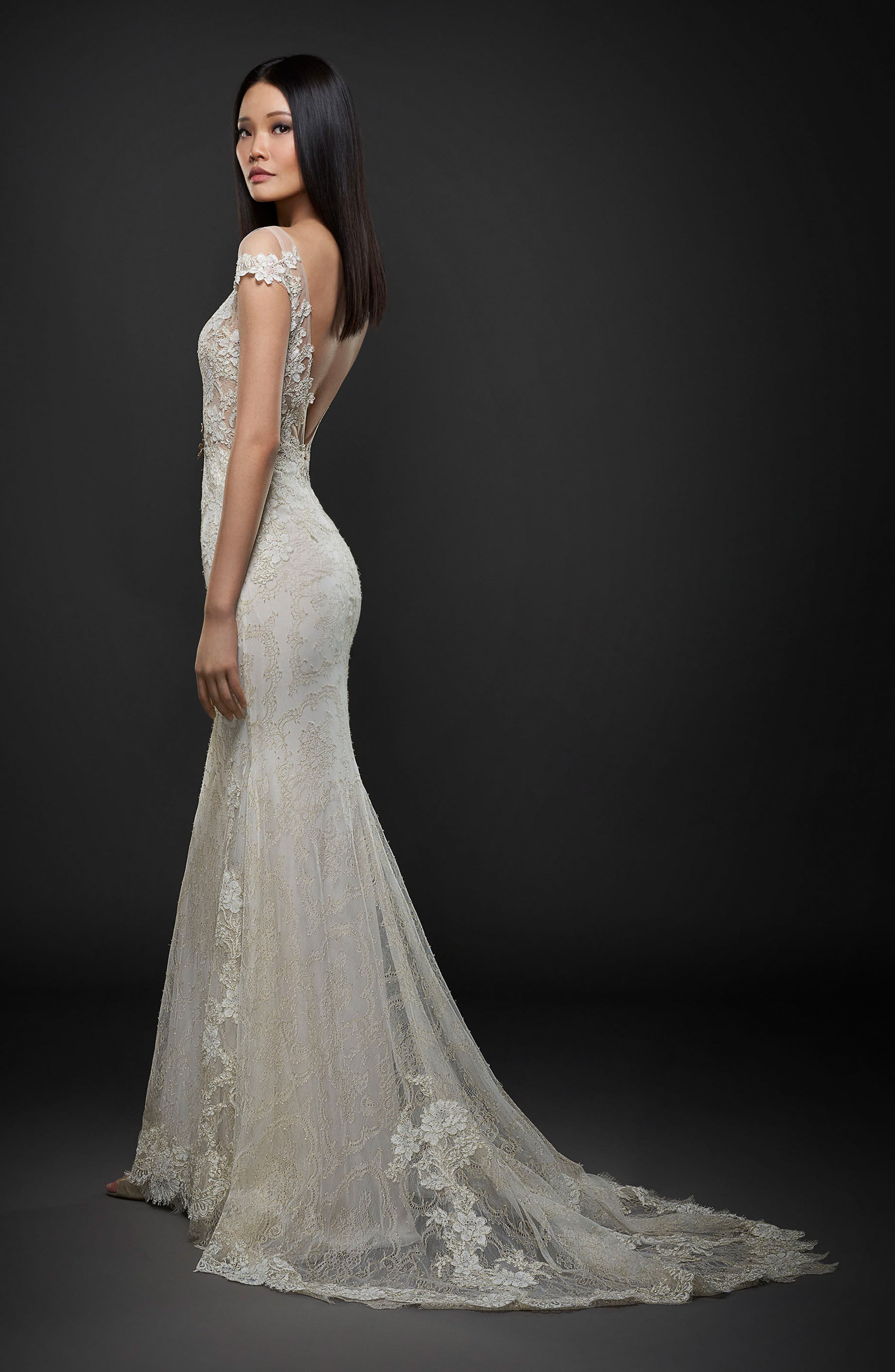 Alternate Image 2  - Lazaro Embroidered Lace Cap Sleeve Gown