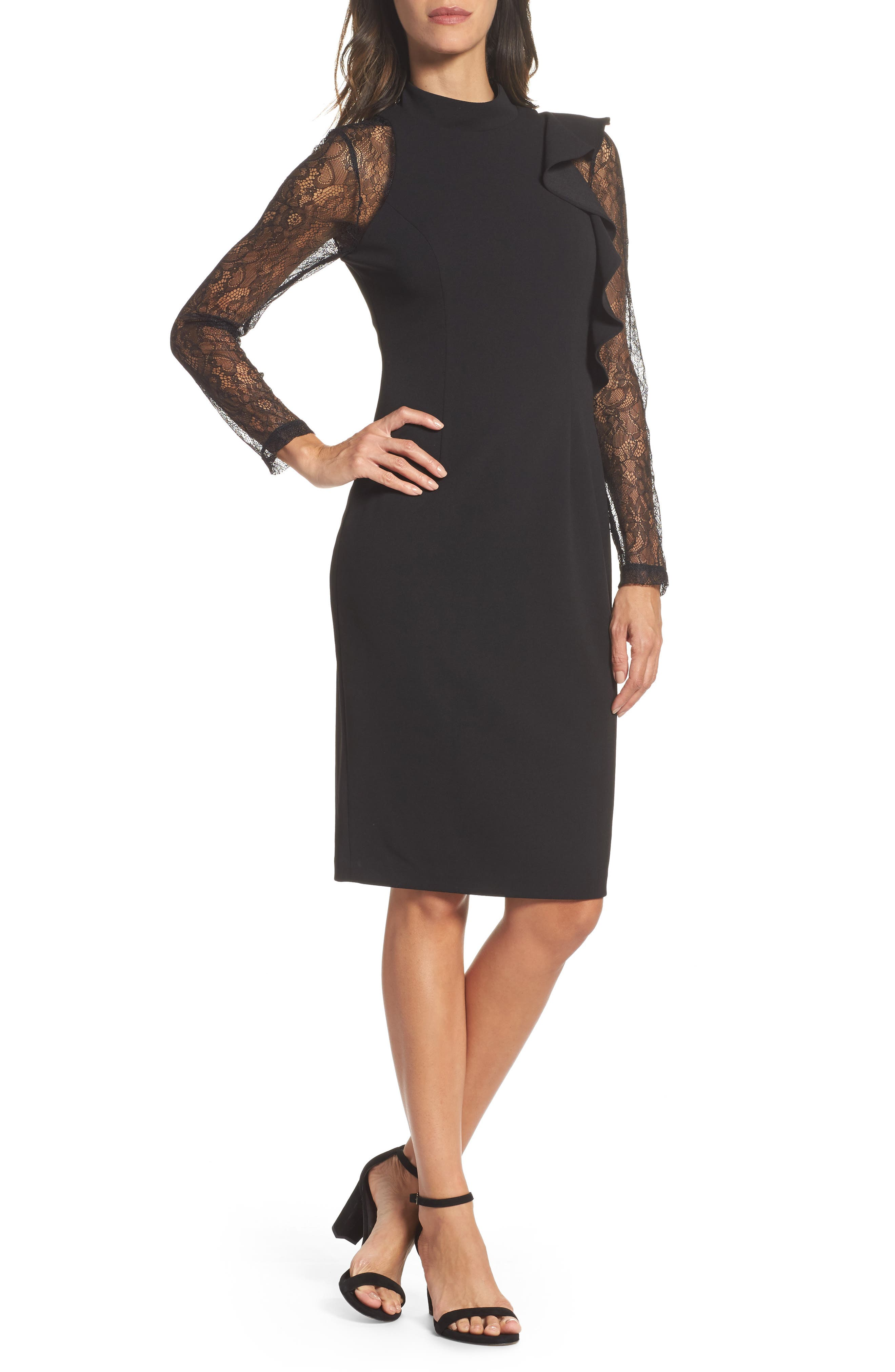 Adrianna Papell Ruffle Lace Sheath Dress