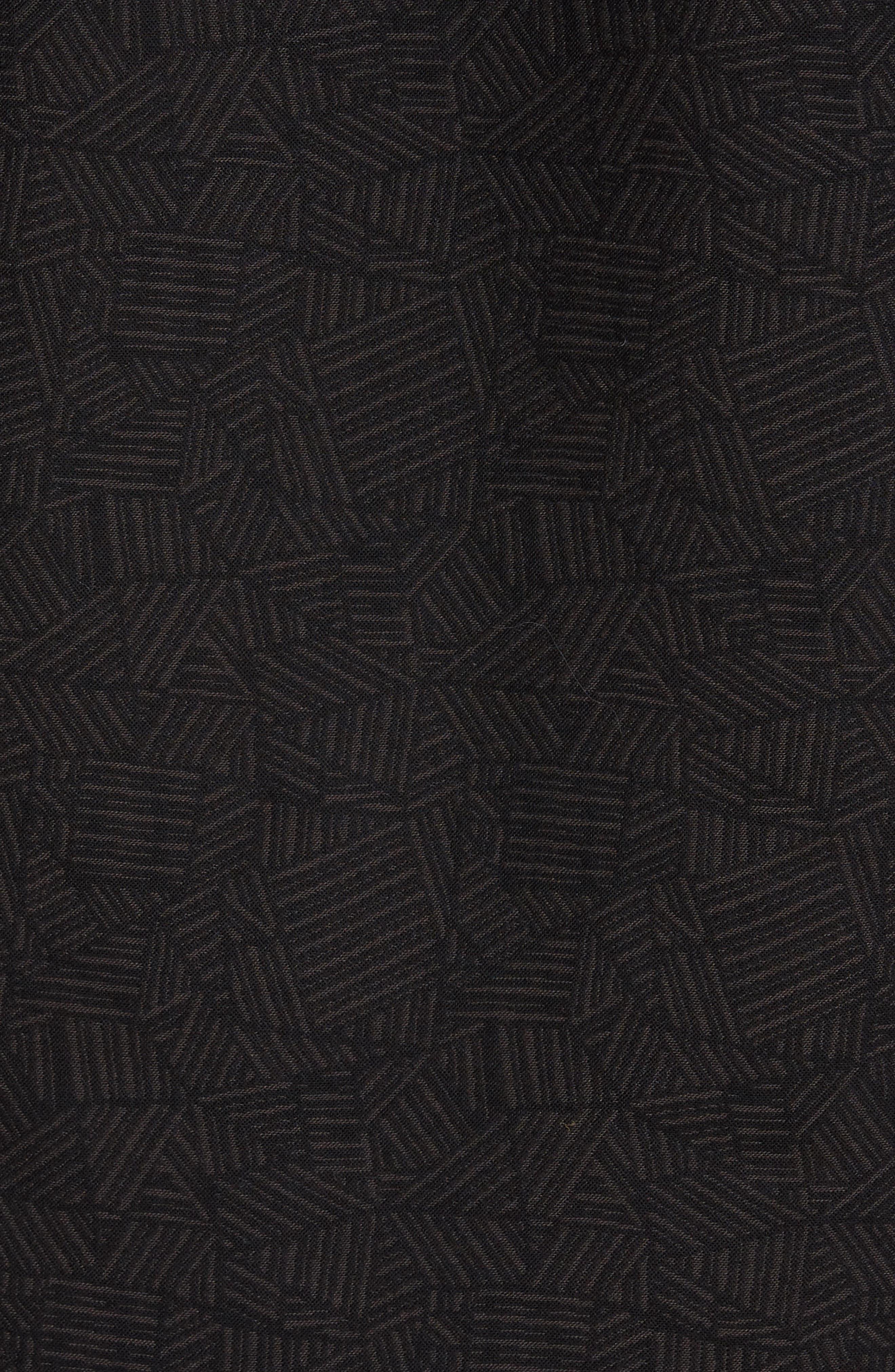 Kirby Slim Fit Print Sport Shirt,                             Alternate thumbnail 5, color,                             Black/ Gold