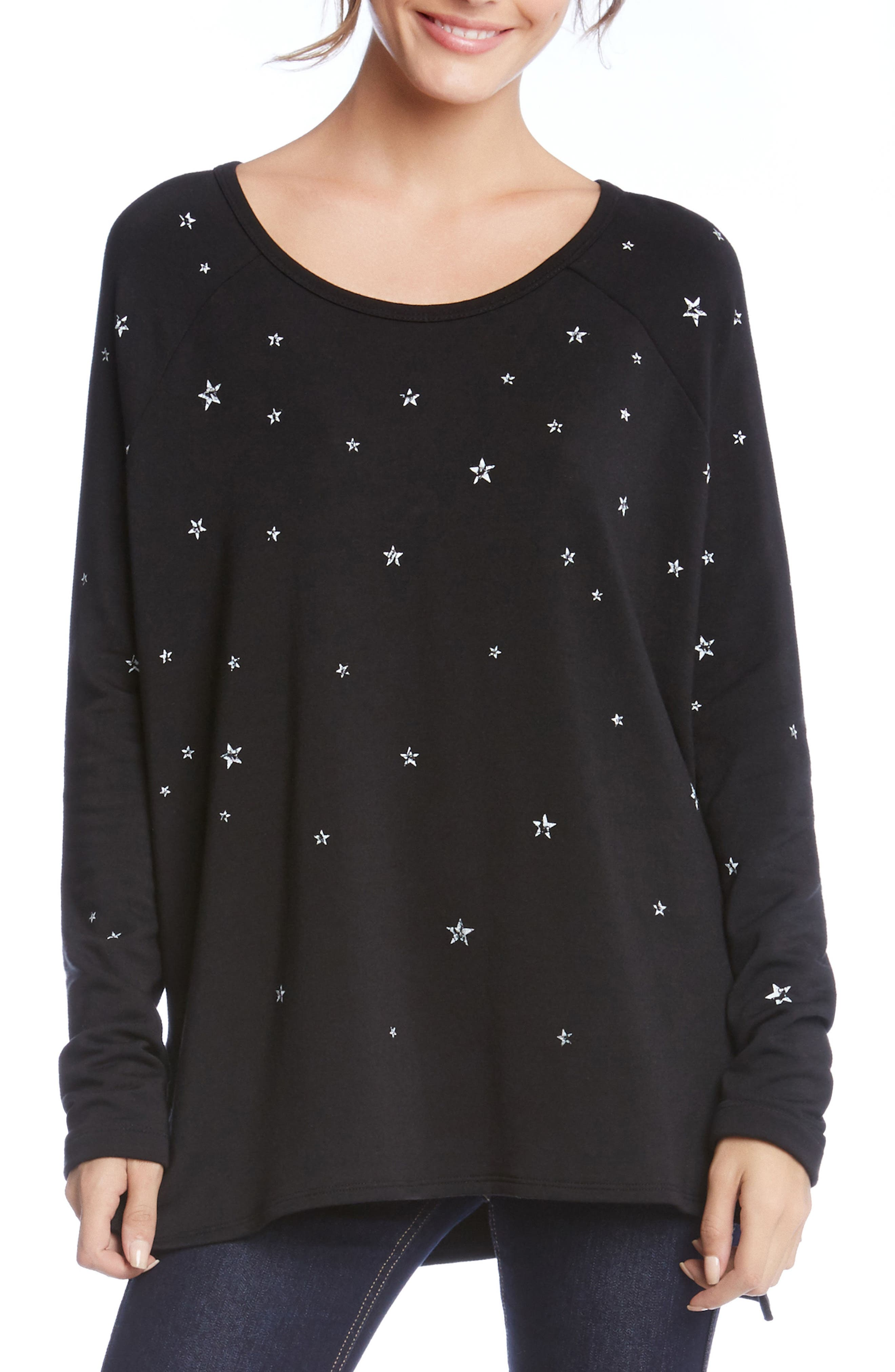 Star Print High/Low Sweatshirt,                             Main thumbnail 1, color,                             Black