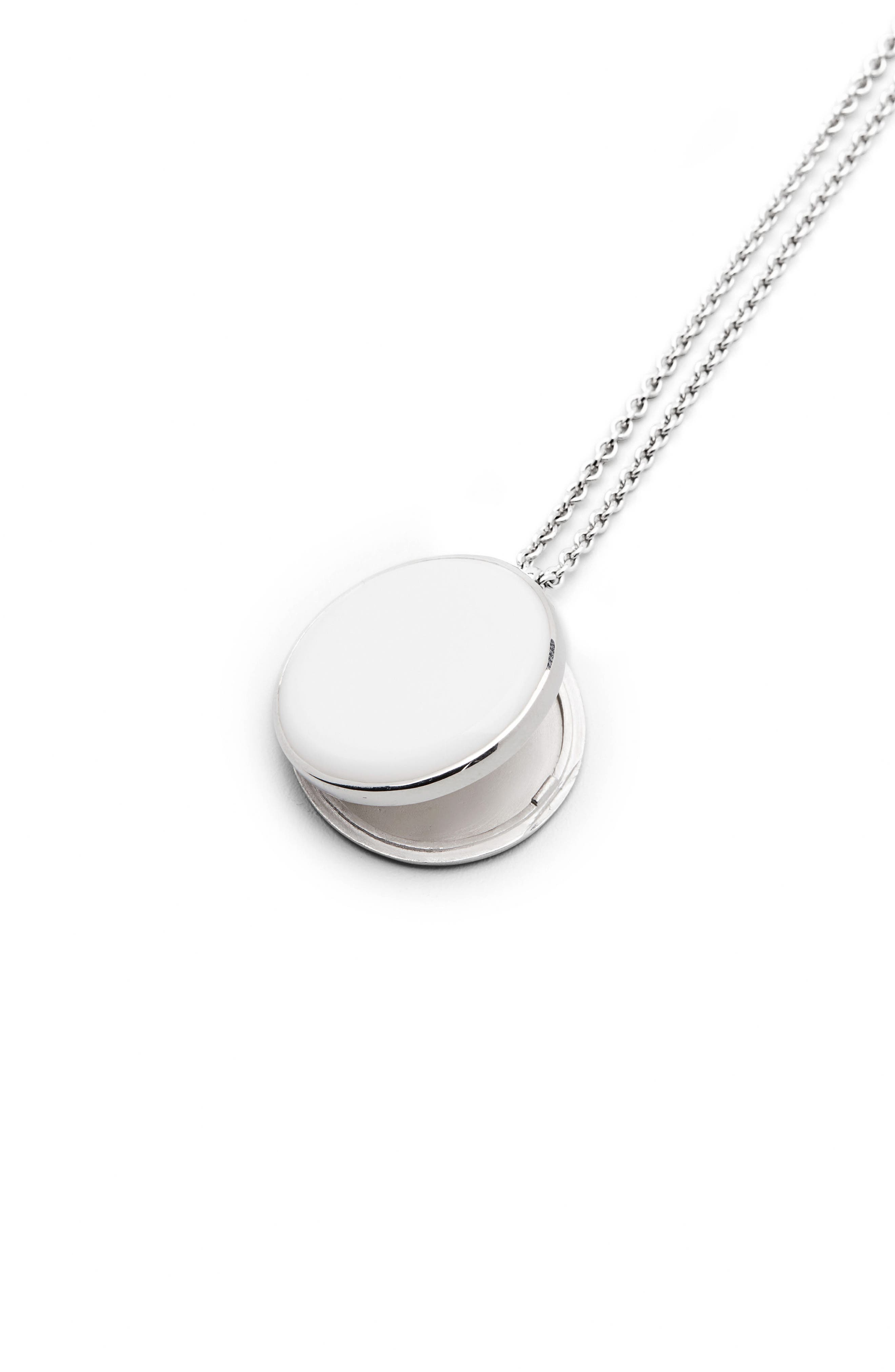 White Agate Medallion Necklace,                             Alternate thumbnail 3, color,                             925 Sterling Silver