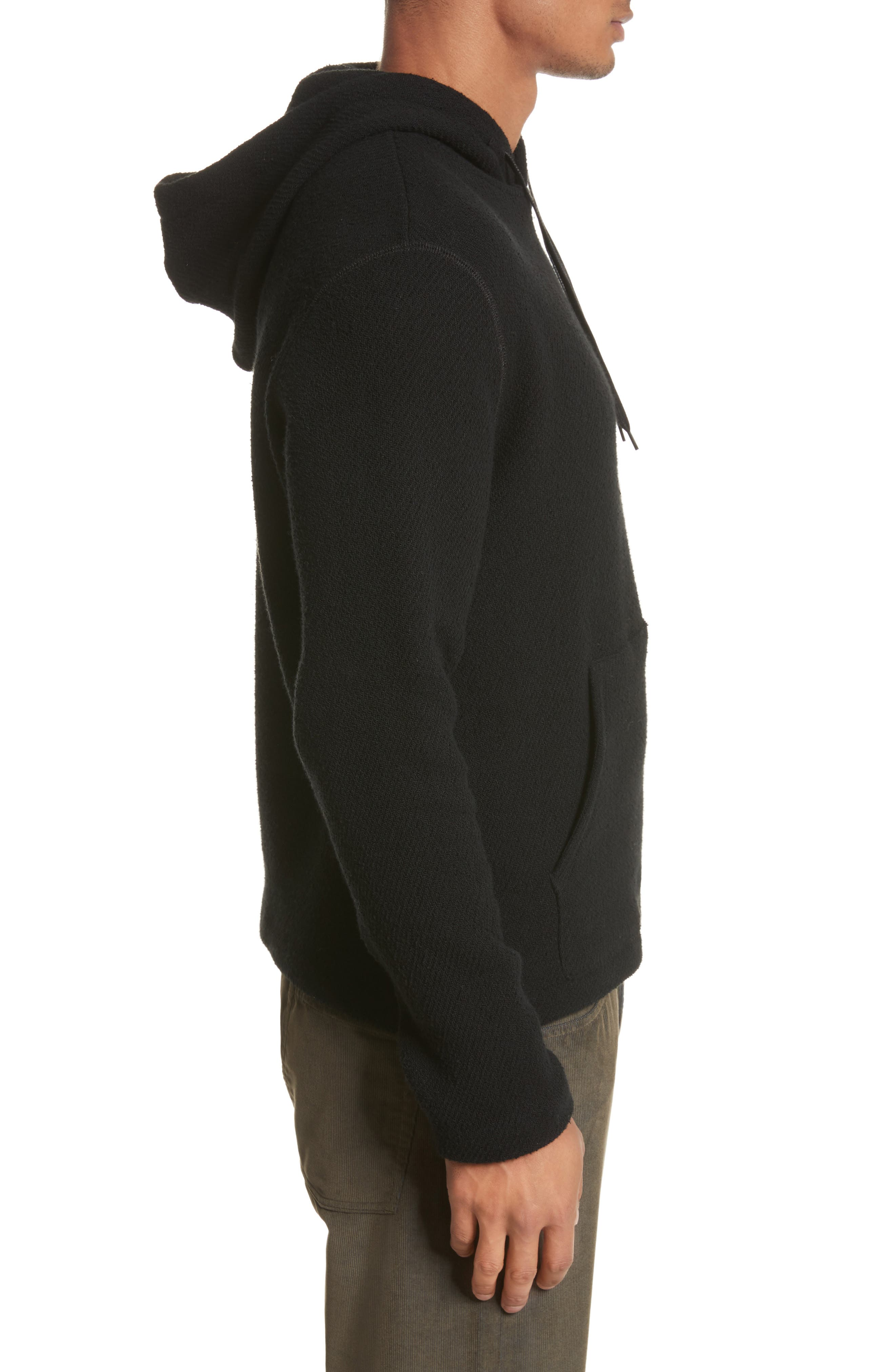 Chunky Waffle Knit Hoodie,                             Alternate thumbnail 3, color,                             Black