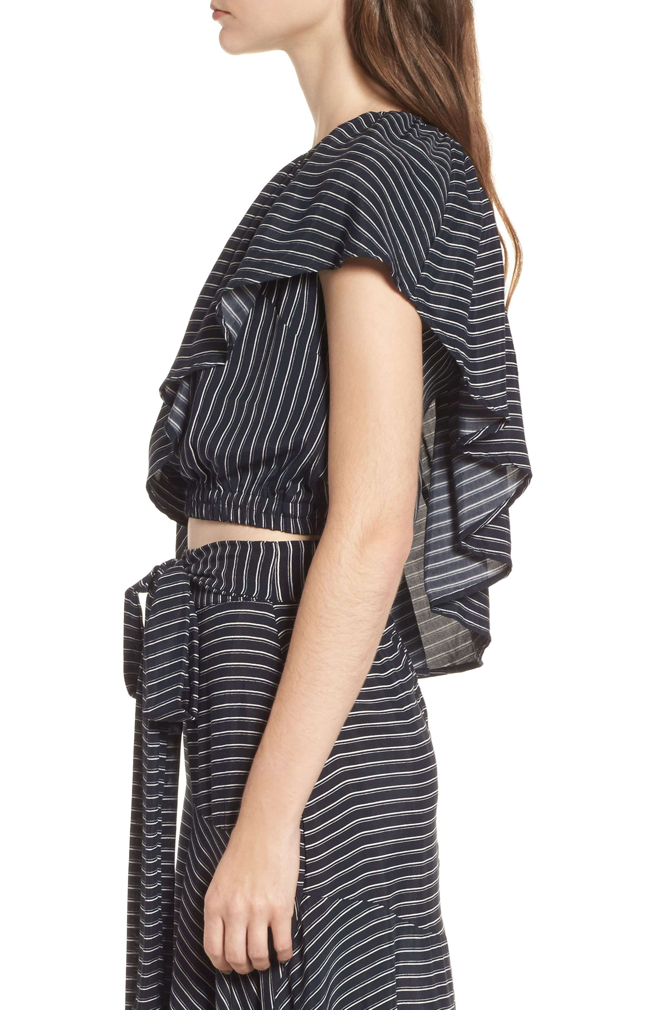 San Andres One Shoulder Ruffle Top,                             Alternate thumbnail 4, color,                             San Cristobal Stripe Print