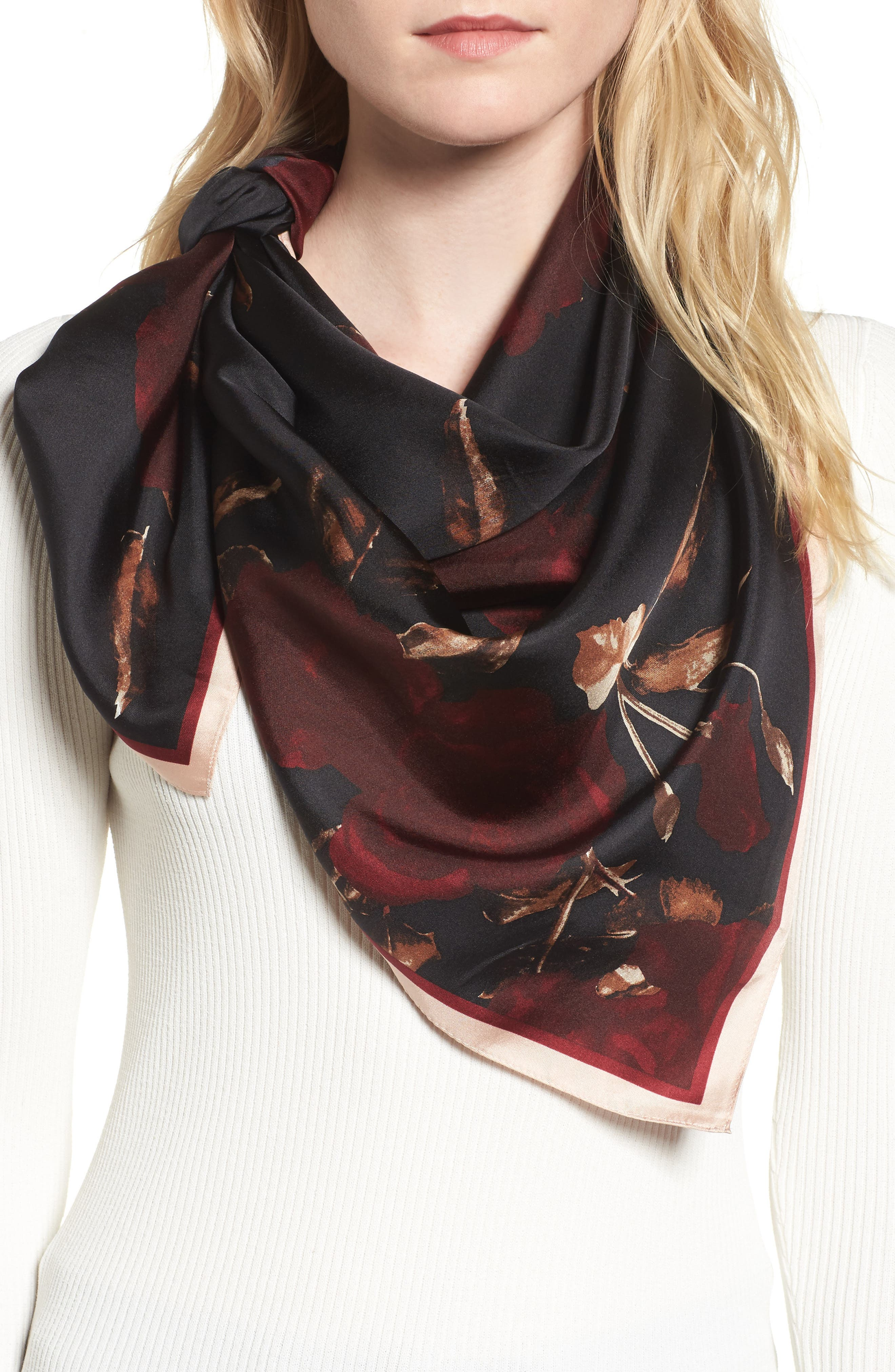 Vince Camuto Sepia Rose Square Silk Scarf
