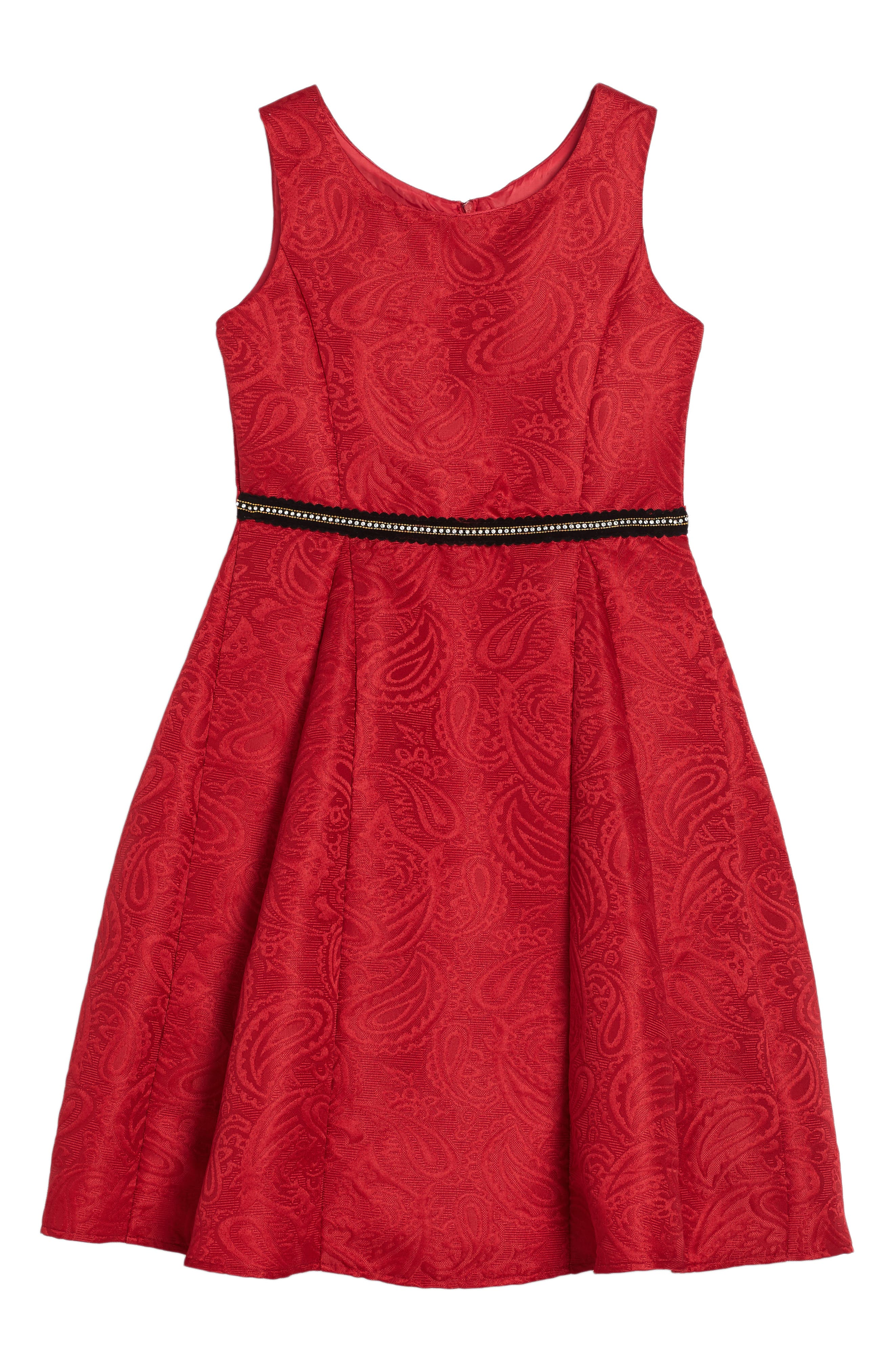 Hannah Jacquard Dress,                         Main,                         color, Red
