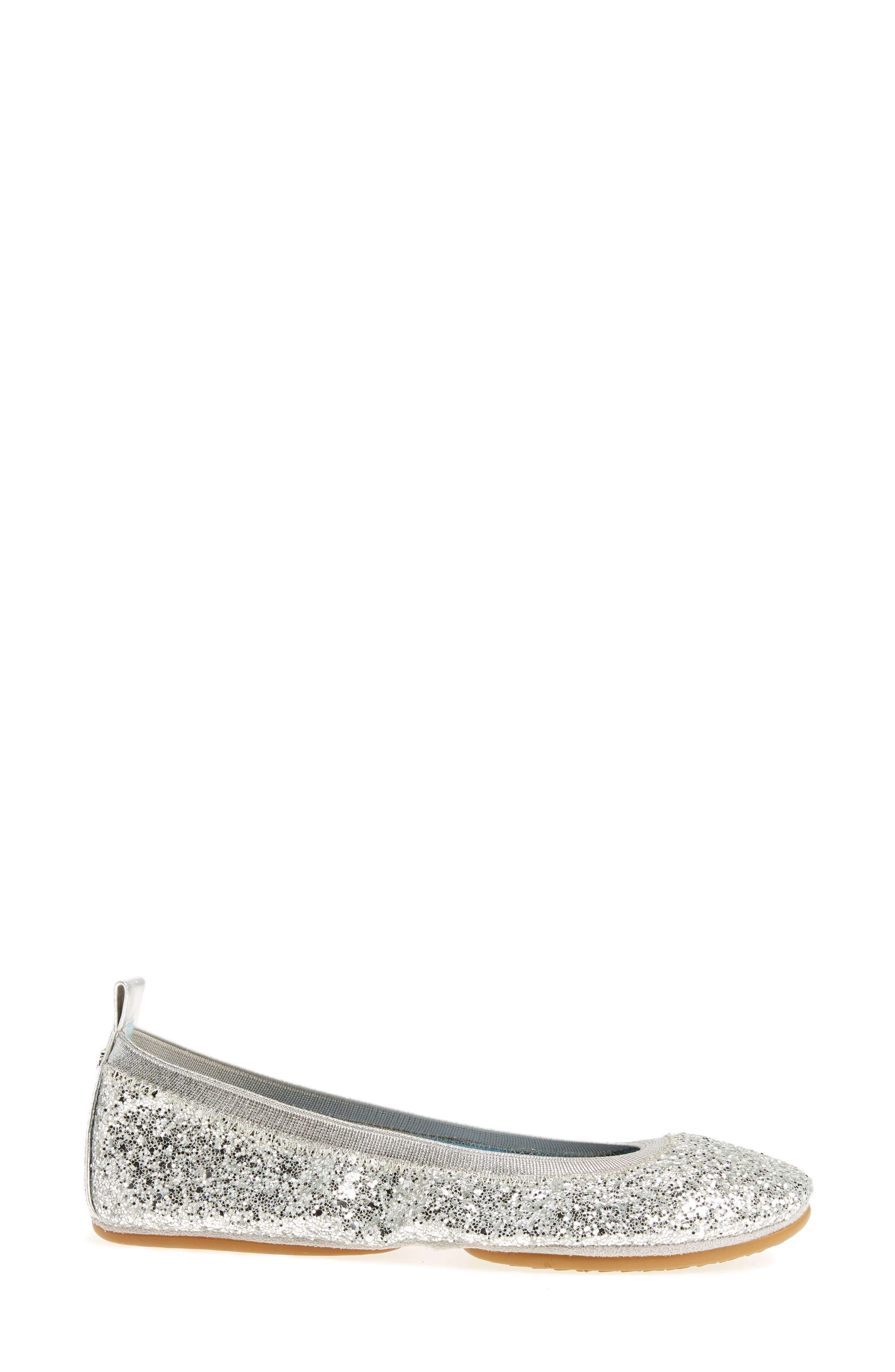 Serna Foldable Glitter Ballet Flat,                             Alternate thumbnail 3, color,                             Platinum Glitter