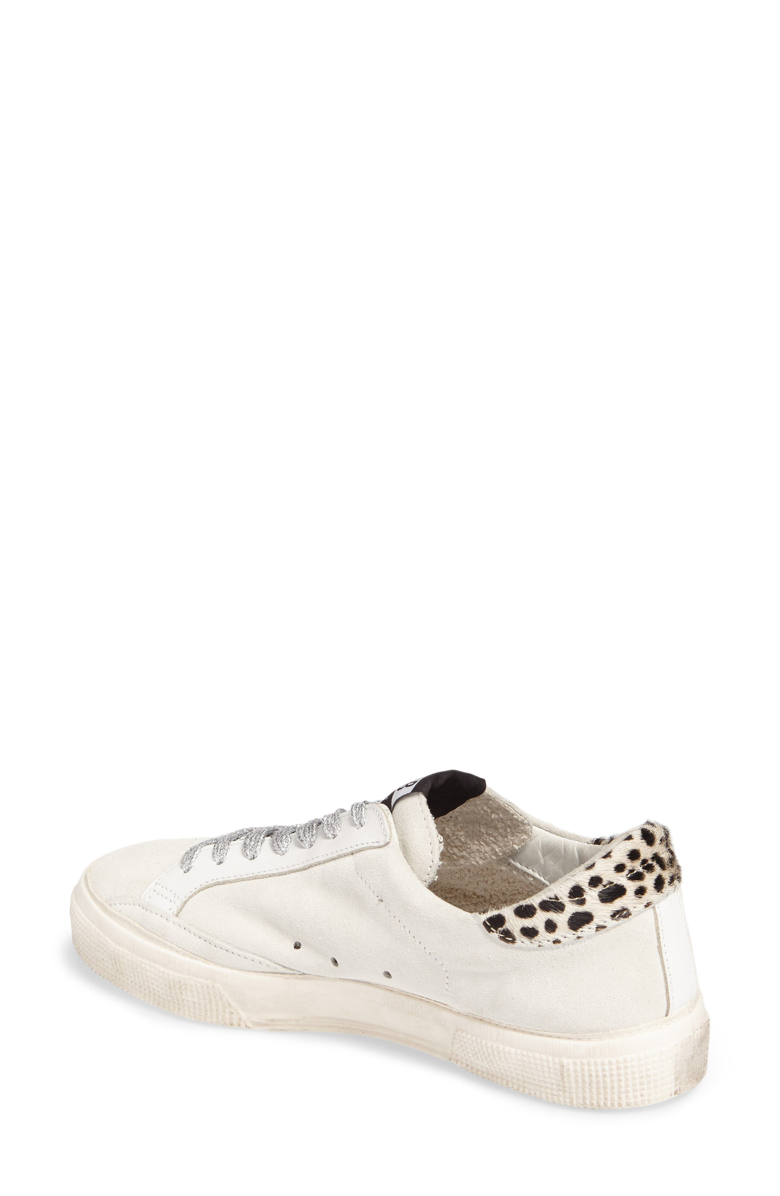 May Low Top Sneaker,                             Alternate thumbnail 2, color,                             White Suede/ Leopard