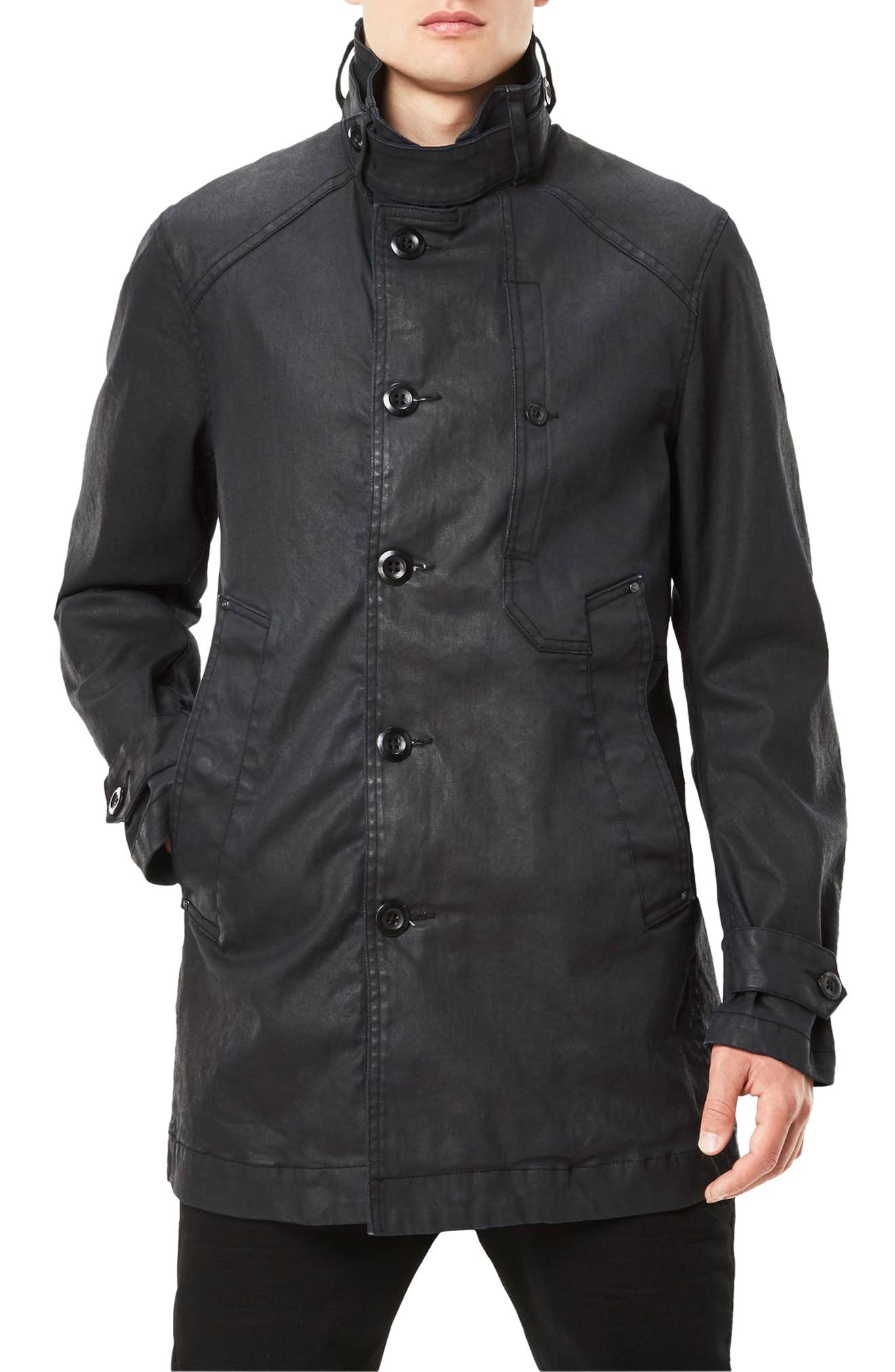 Garber Denim Trench Coat,                             Main thumbnail 1, color,                             Dark Aged