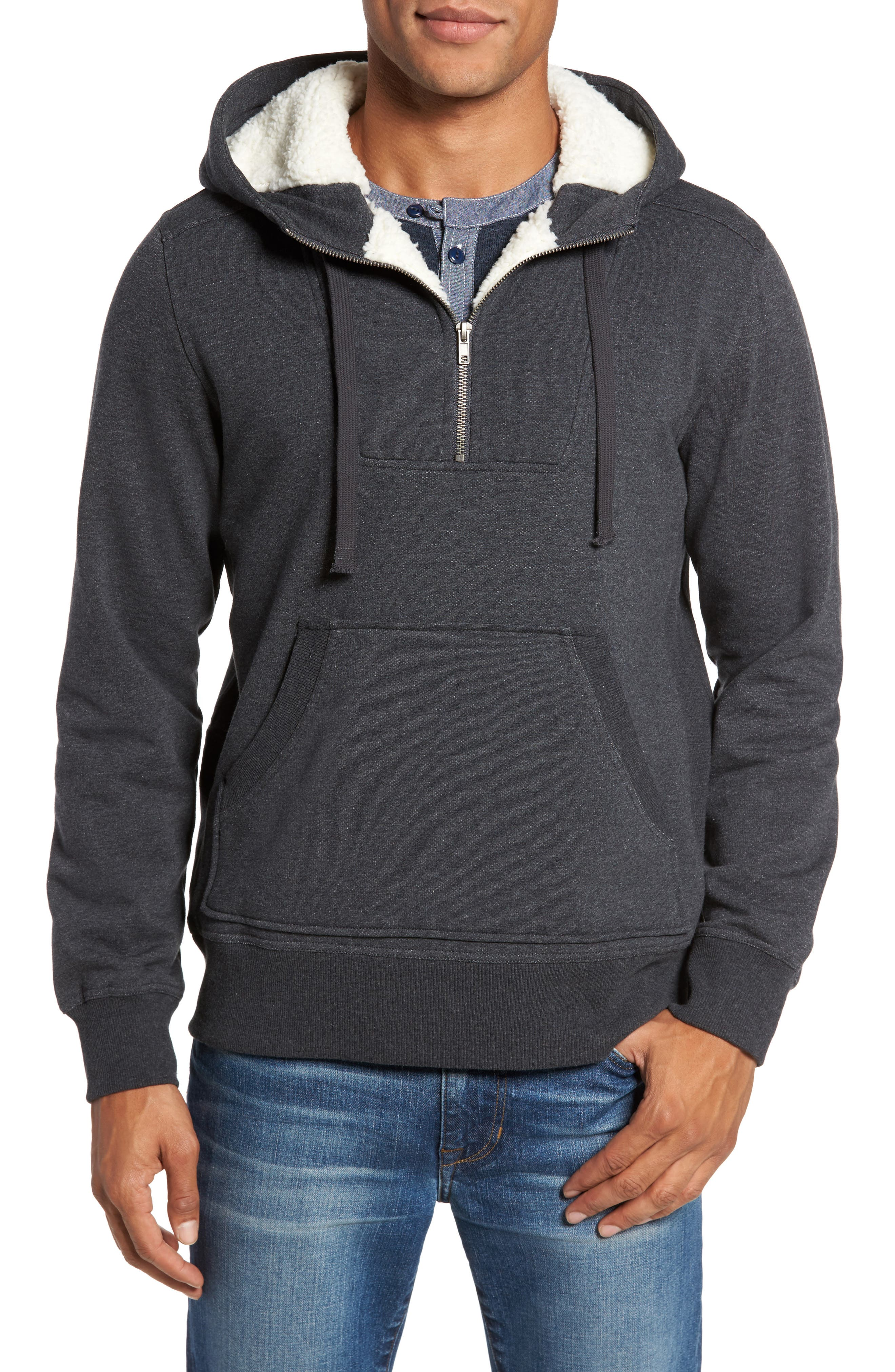 Fleece Lined Hoodie,                         Main,                         color, Charcoal