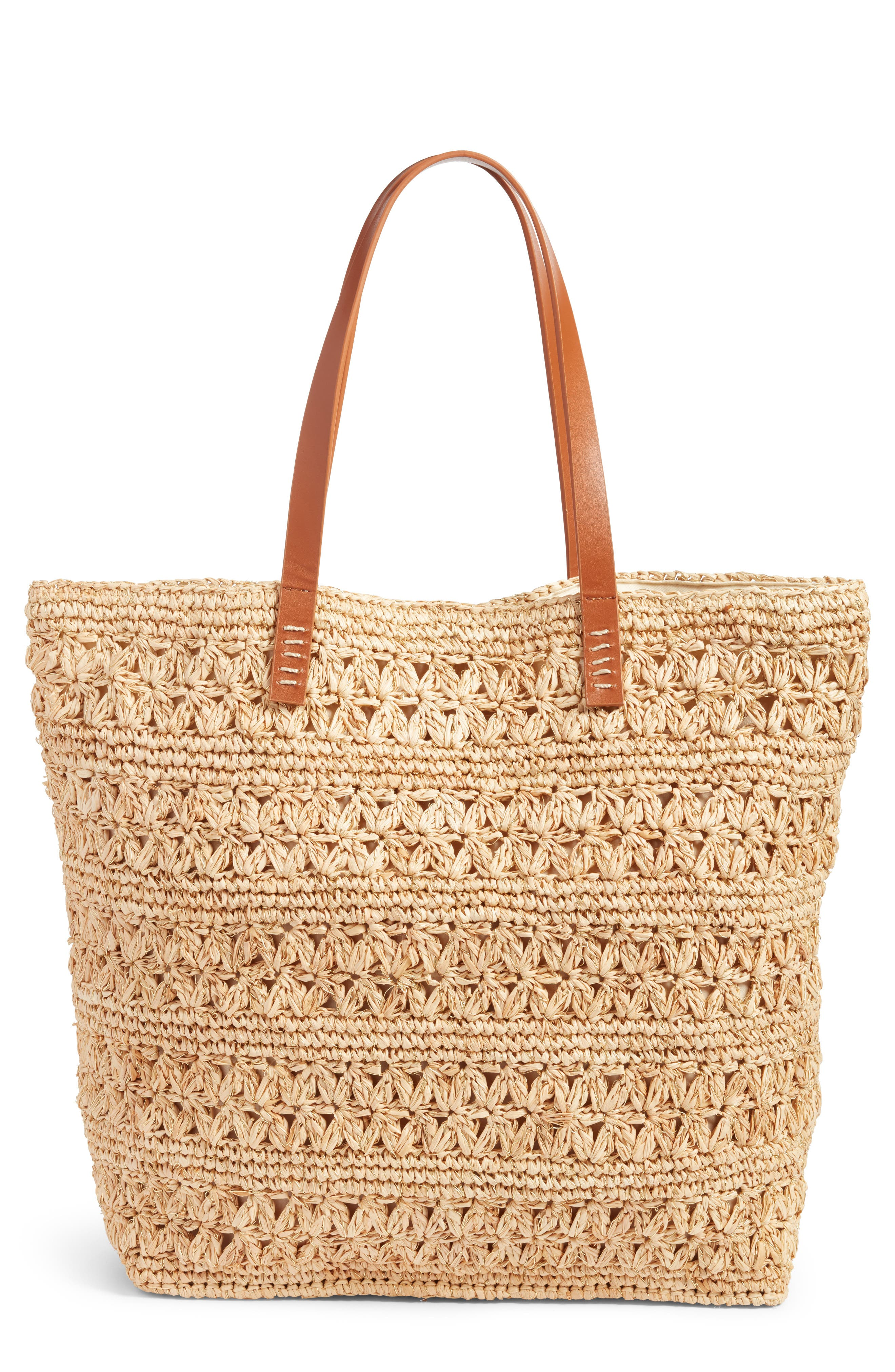 Packable Raffia Crochet Tote,                             Main thumbnail 1, color,                             Natural/ Gold