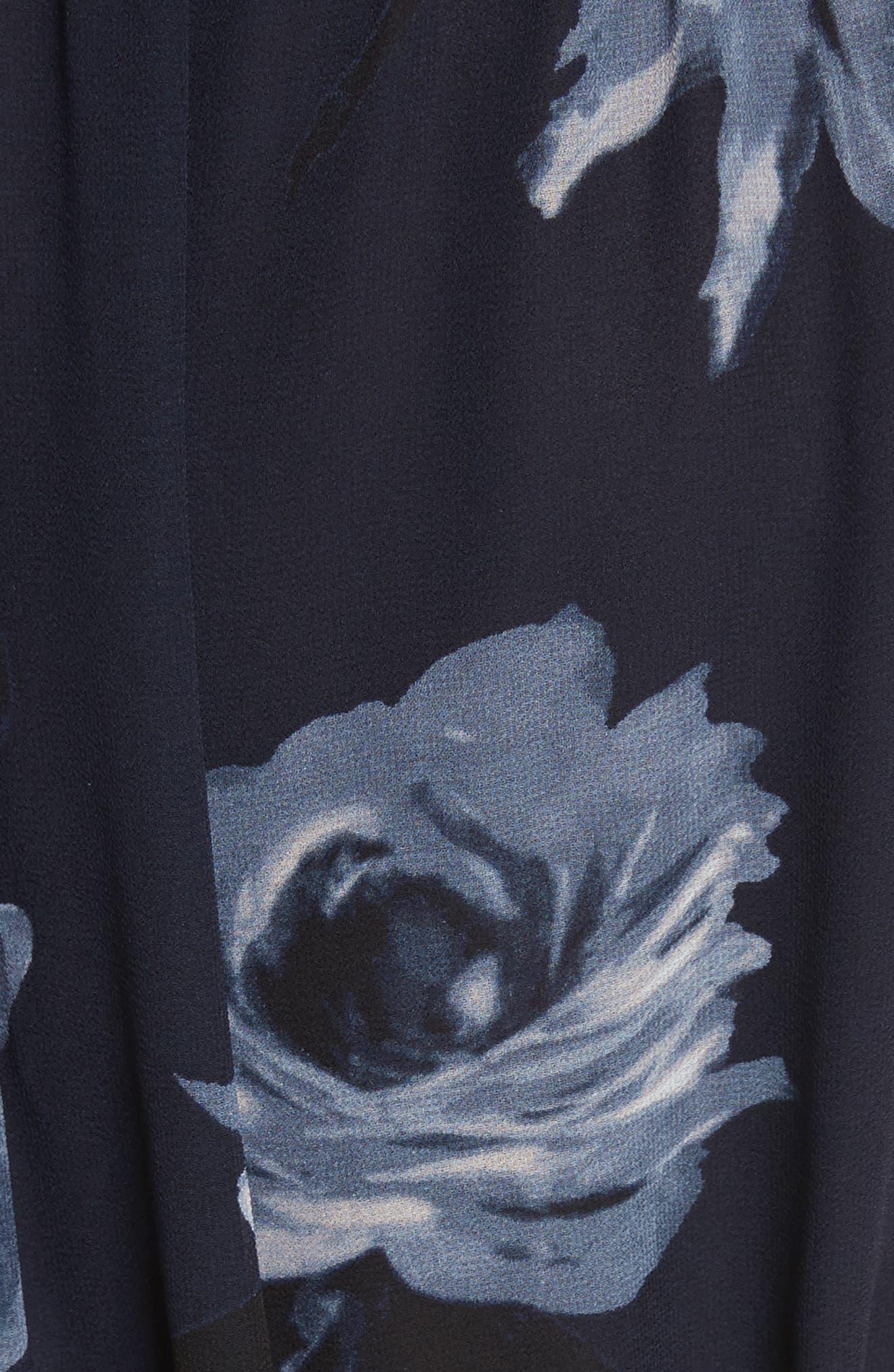 kade spade new york Night Rose Chiffon Midi Dress,                             Alternate thumbnail 5, color,                             Rich Navy