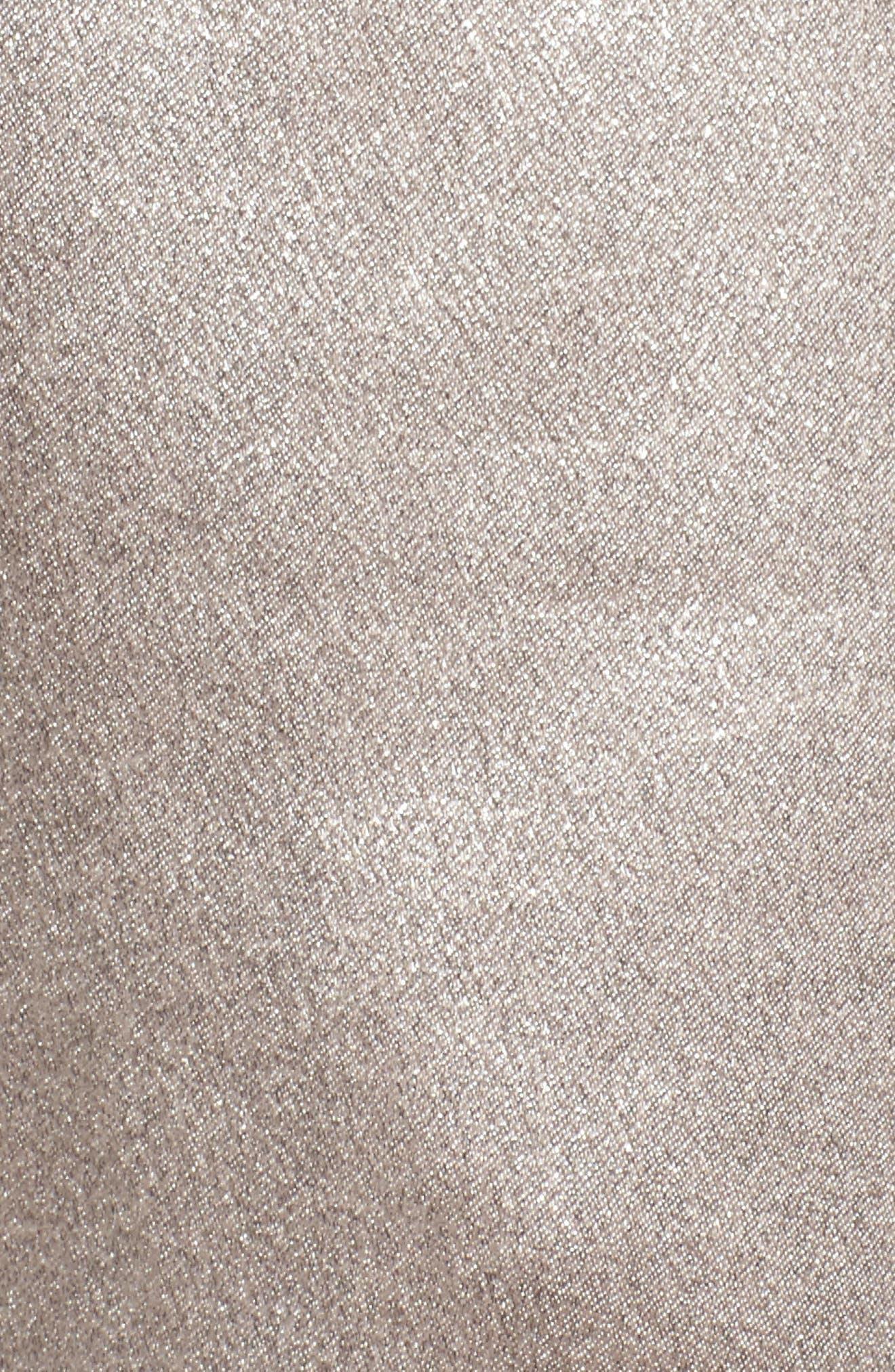 Satin High Waist Ankle Pants,                             Alternate thumbnail 6, color,                             Grey Chateau Metallic