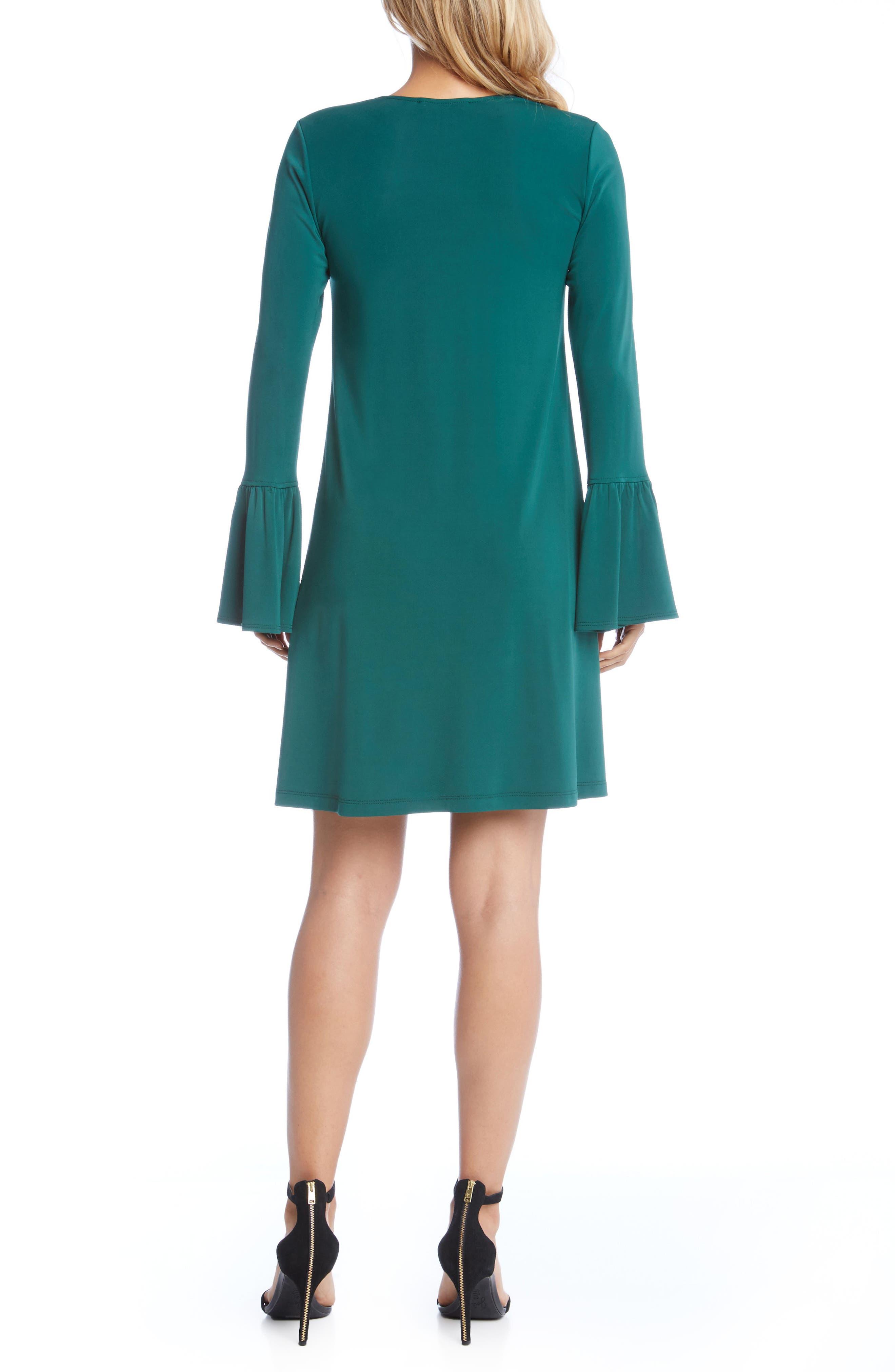 Bell Sleeve Dress,                             Alternate thumbnail 3, color,                             Emerald