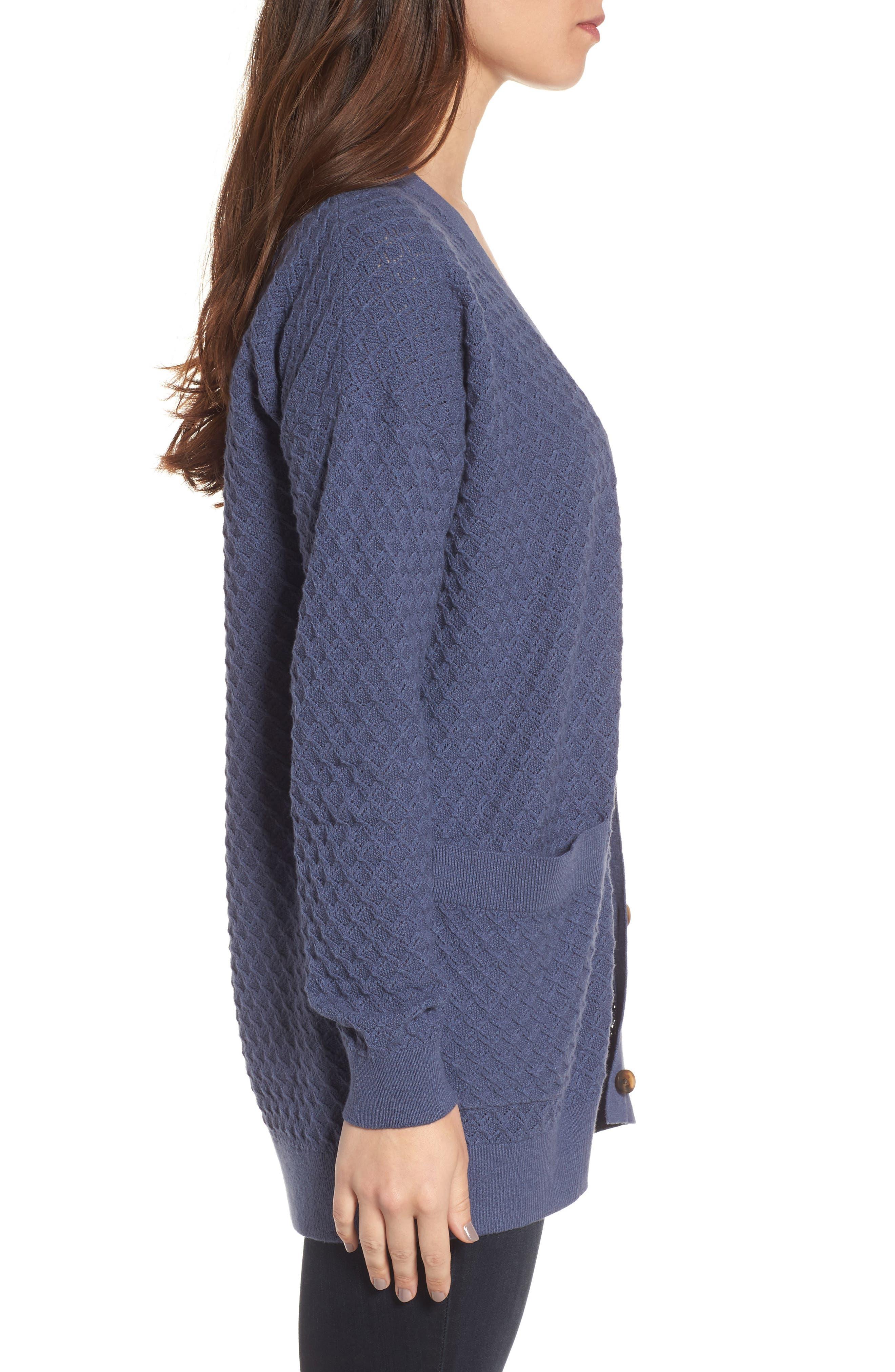 Pointelle Cardigan Sweater,                             Alternate thumbnail 3, color,                             Blue Vintage