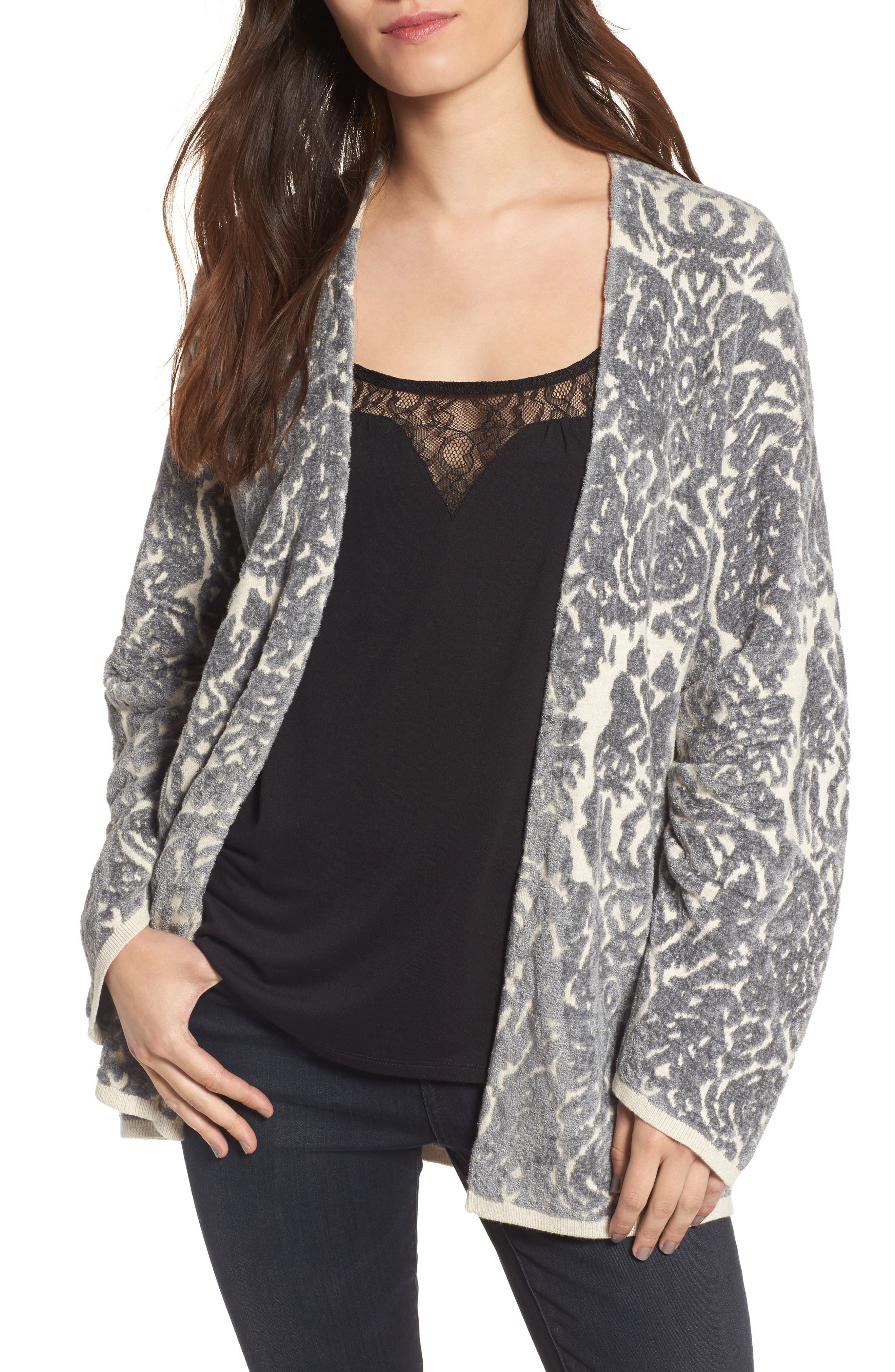 Embroidered Cardigan,                             Main thumbnail 1, color,                             Beige Oatmeal Heather Combo