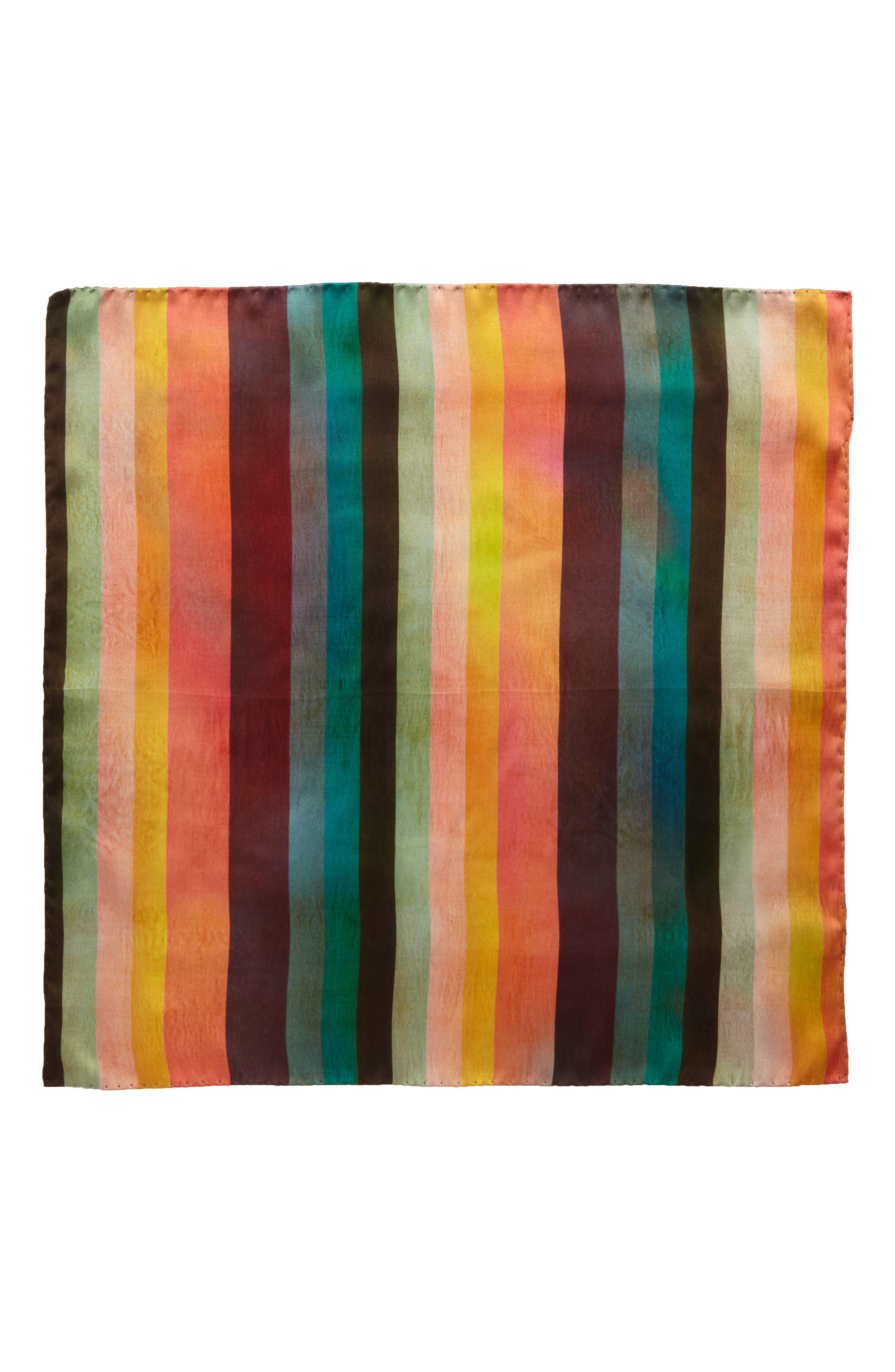 Artist Stripe Silk Pocket Square,                             Alternate thumbnail 3, color,                             Multi