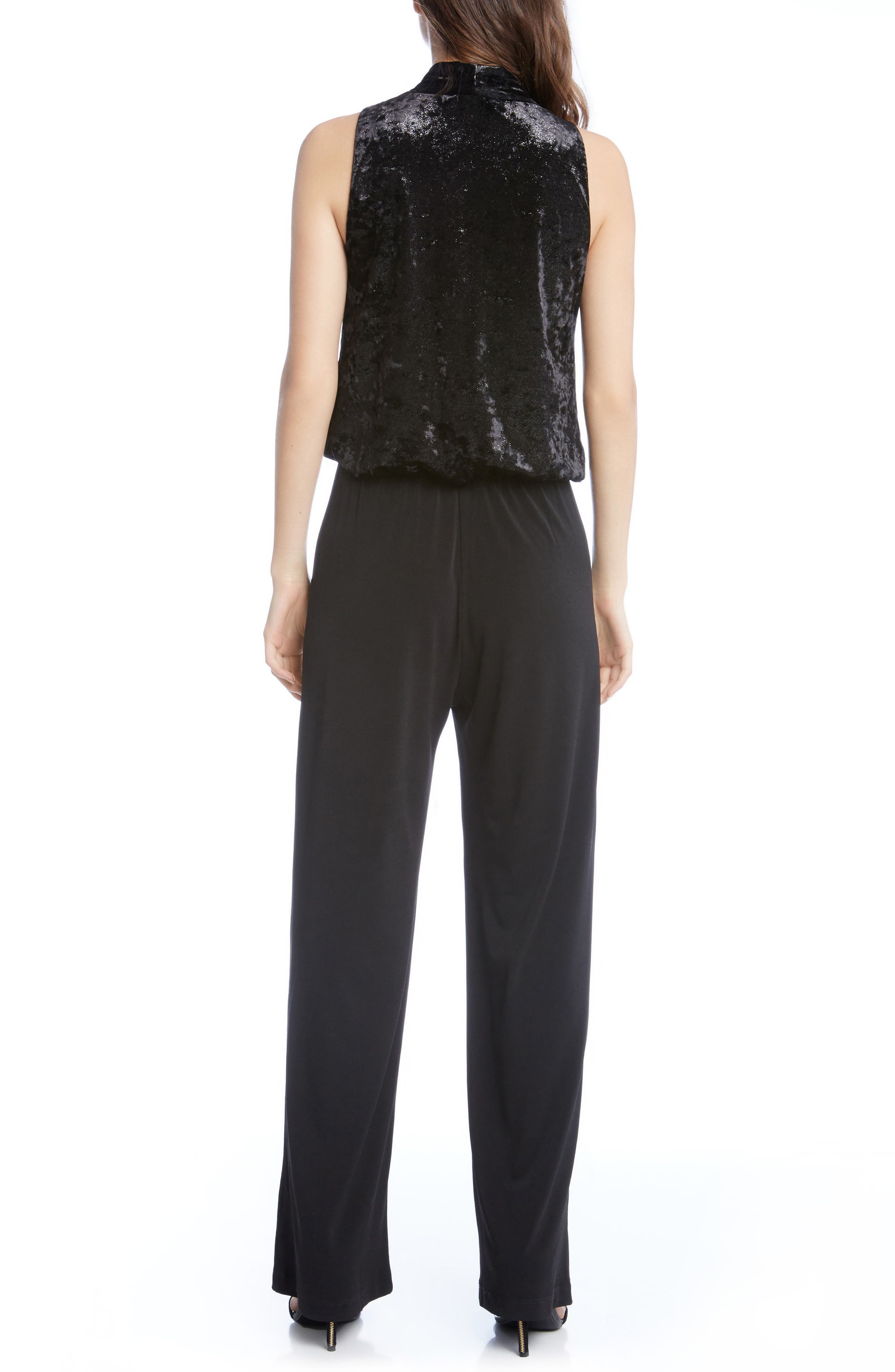 Palazzo Velvet & Crepe Jumpsuit,                             Alternate thumbnail 3, color,                             Black