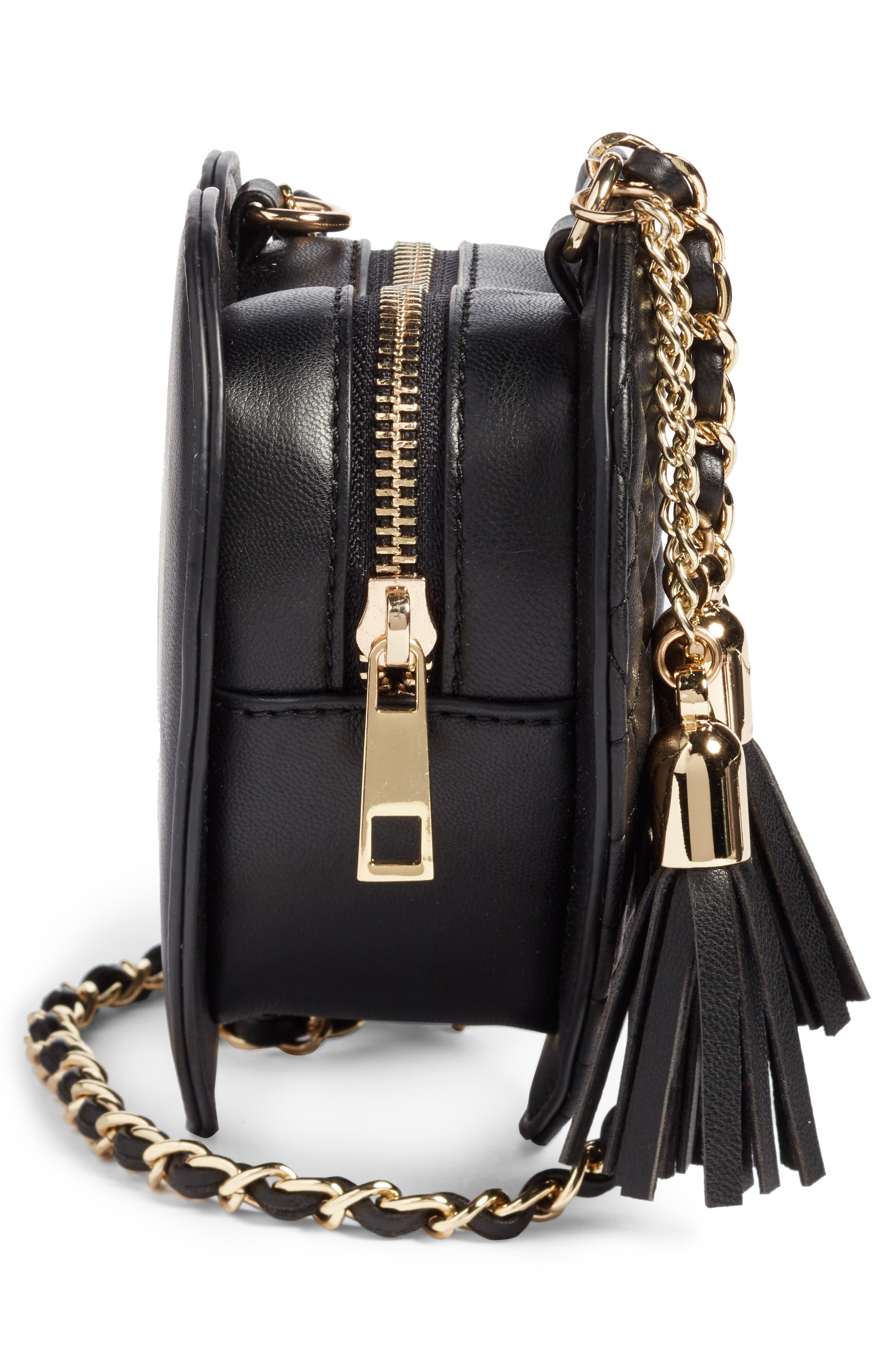 Mali + Lili Quilted Heart Vegan Leather Crossbody Bag,                             Alternate thumbnail 5, color,                             Black