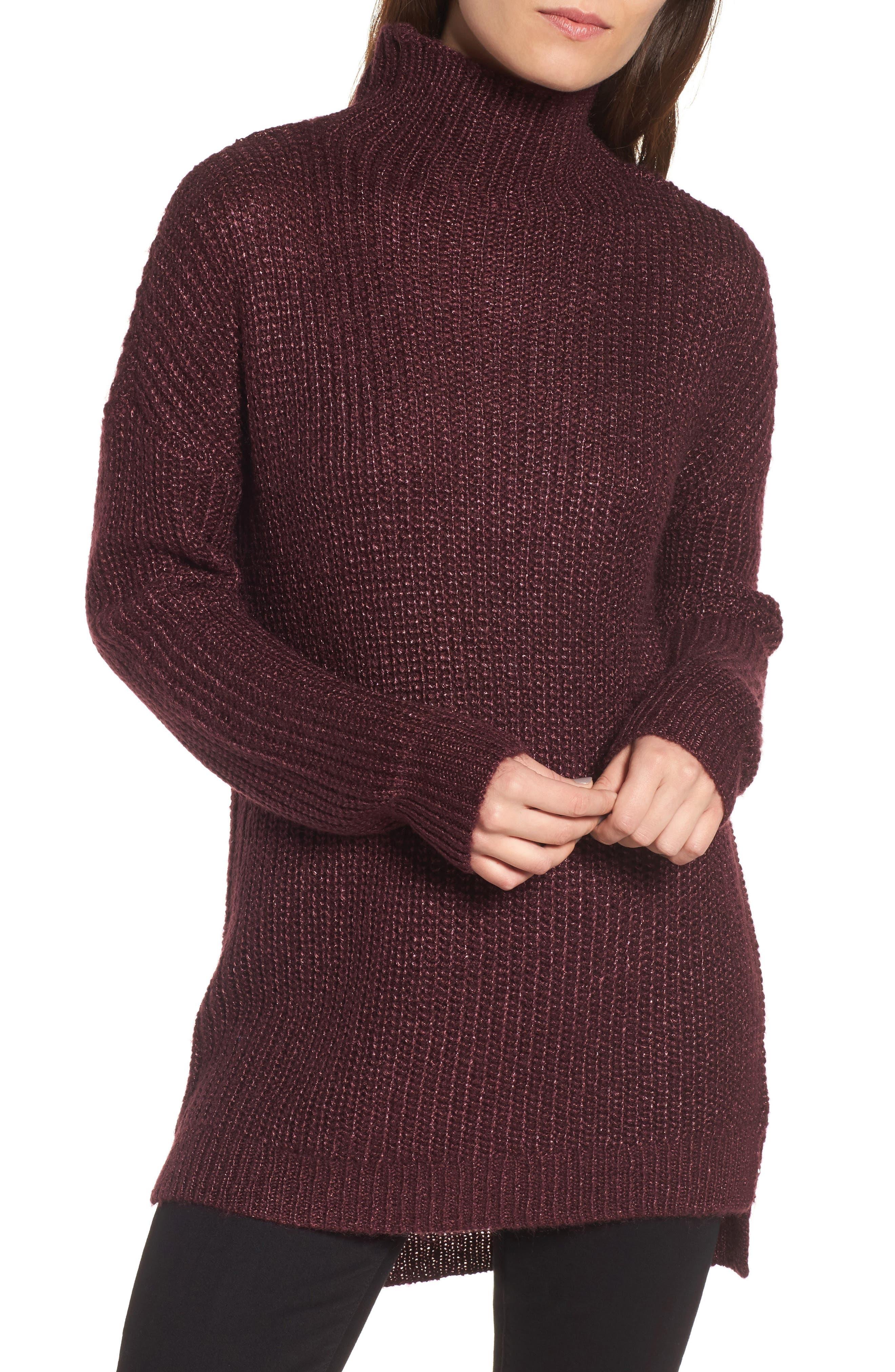 Rib Knit Sweater,                         Main,                         color, Burgundy Stem