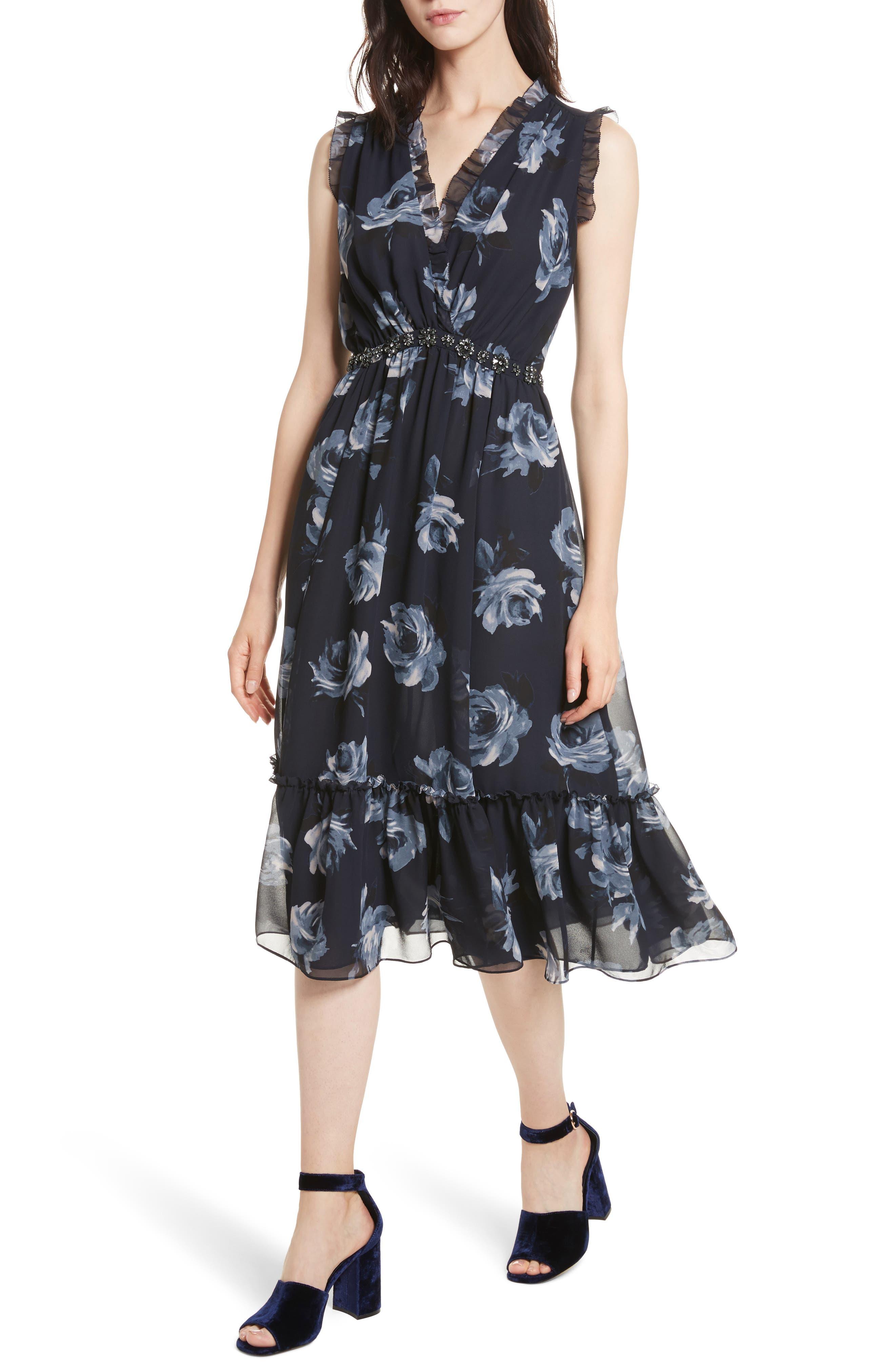 kade spade new york Night Rose Chiffon Midi Dress,                             Alternate thumbnail 4, color,                             Rich Navy
