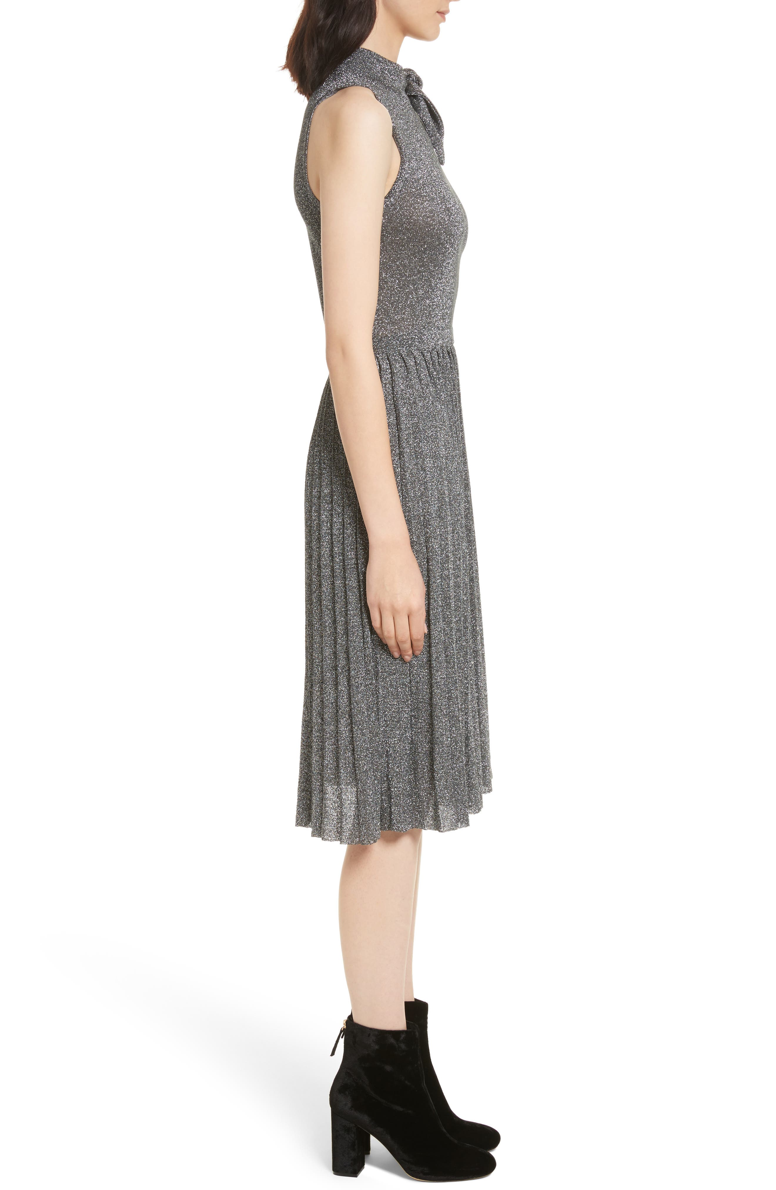 metallic knot sweater dress,                             Alternate thumbnail 3, color,                             Dark Silver