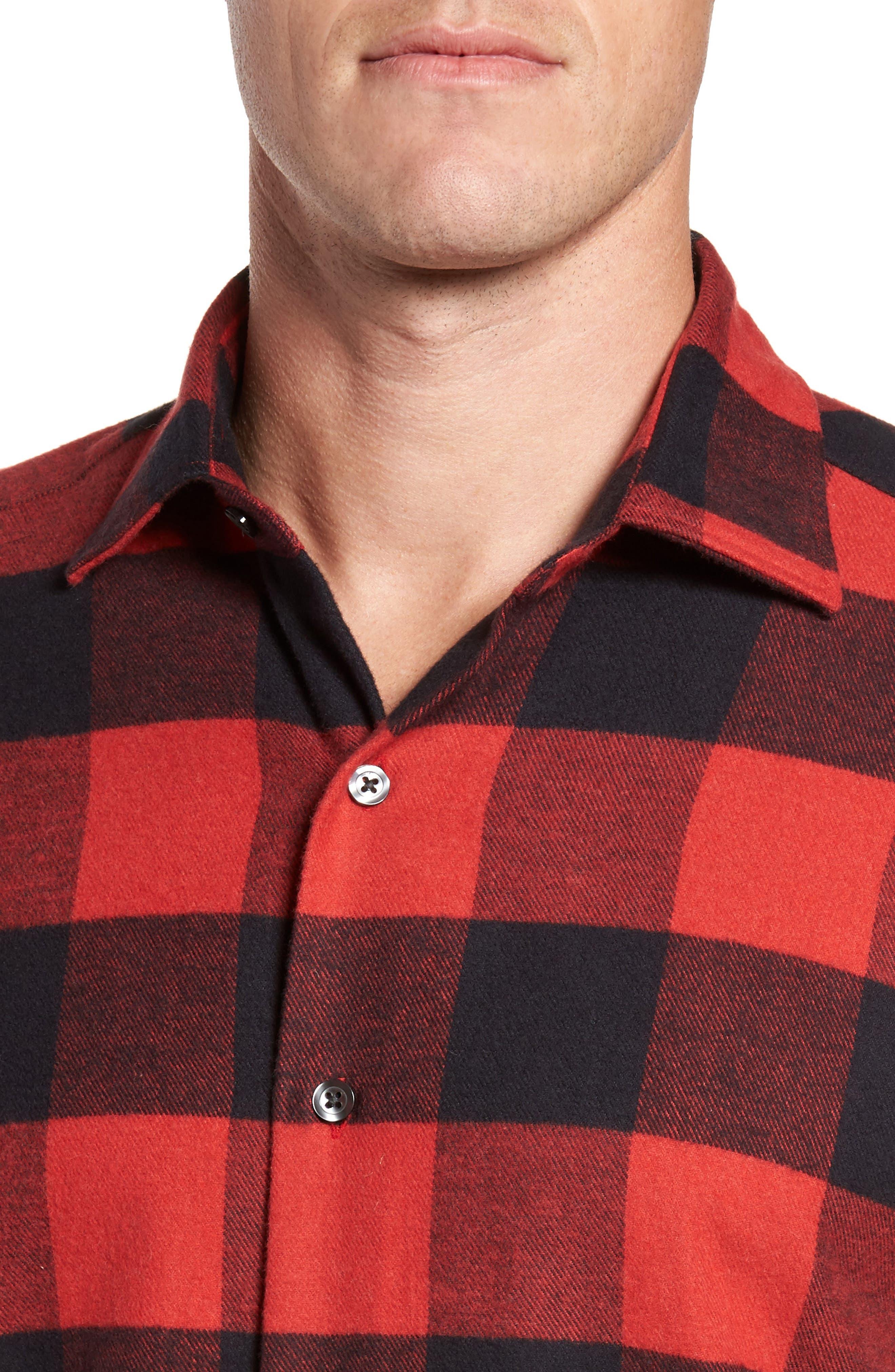 Slim Fit Buffalo Plaid Sport Shirt,                             Alternate thumbnail 4, color,                             Red