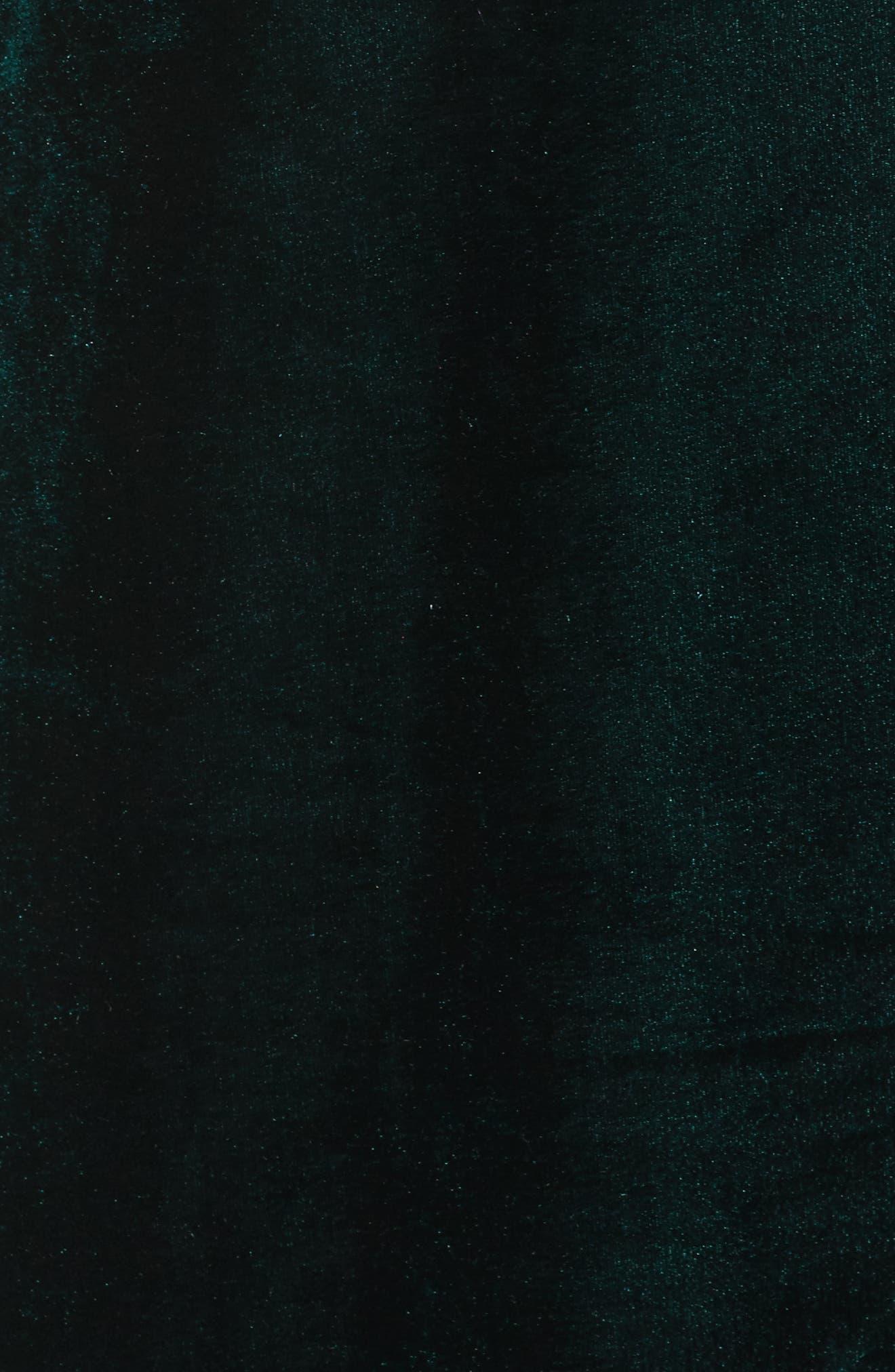 Velvet Shift Dress,                             Alternate thumbnail 5, color,                             Pine Green