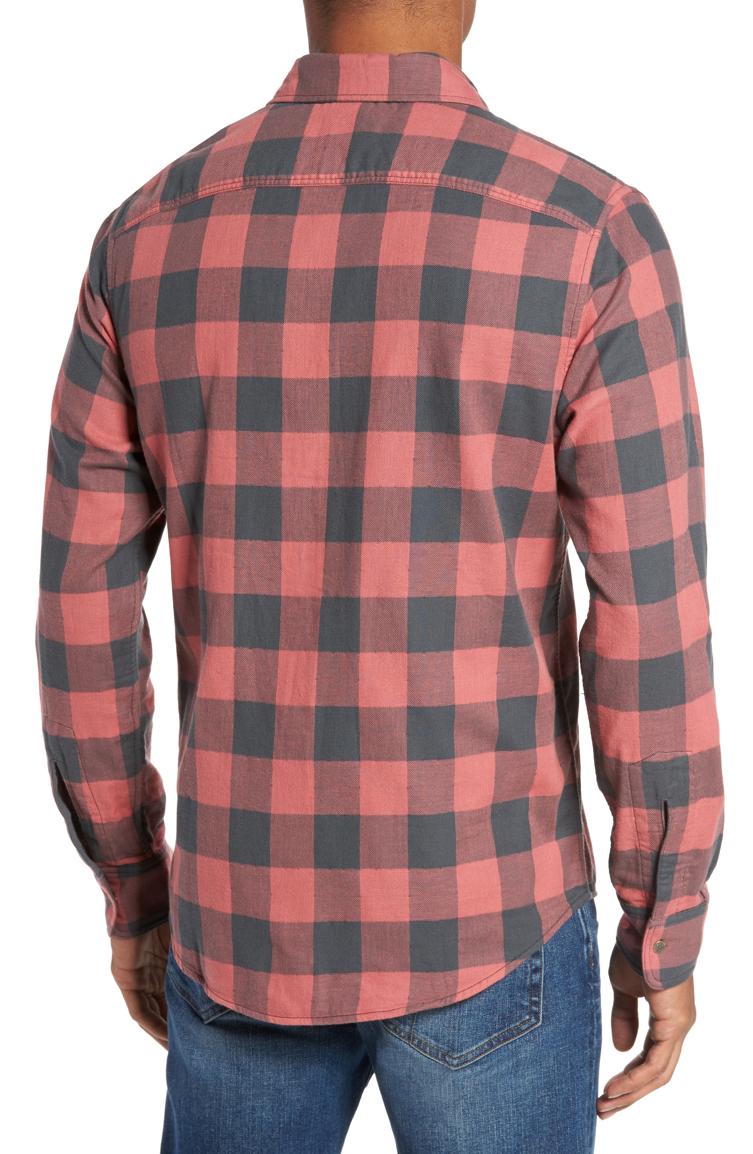 Belmar Trim Fit Long Sleeve Reversible Sport Shirt,                             Alternate thumbnail 2, color,                             Grey / Red Buffalo Check