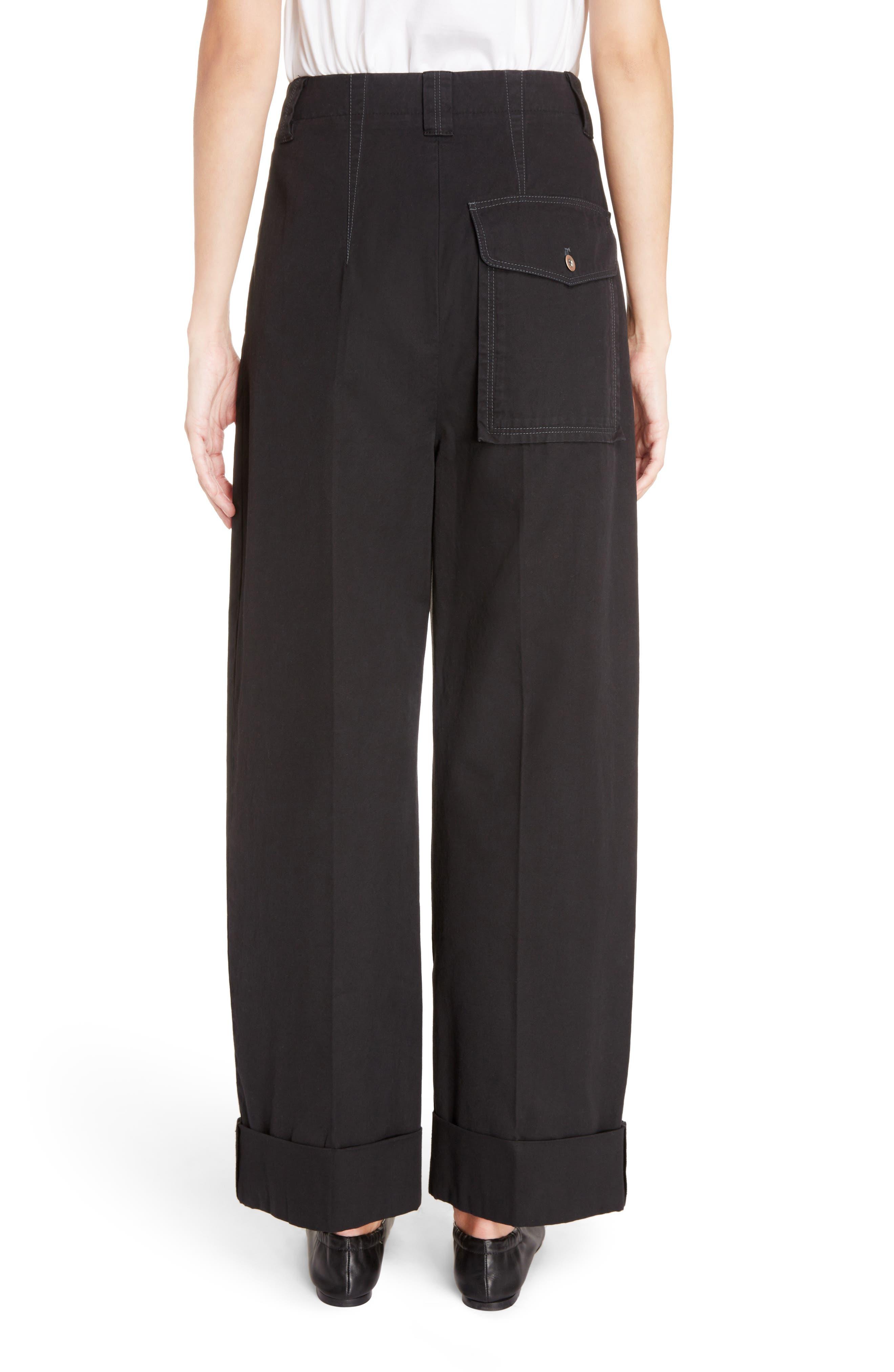 Madya Cuffed Cotton Pants,                             Alternate thumbnail 6, color,                             Black
