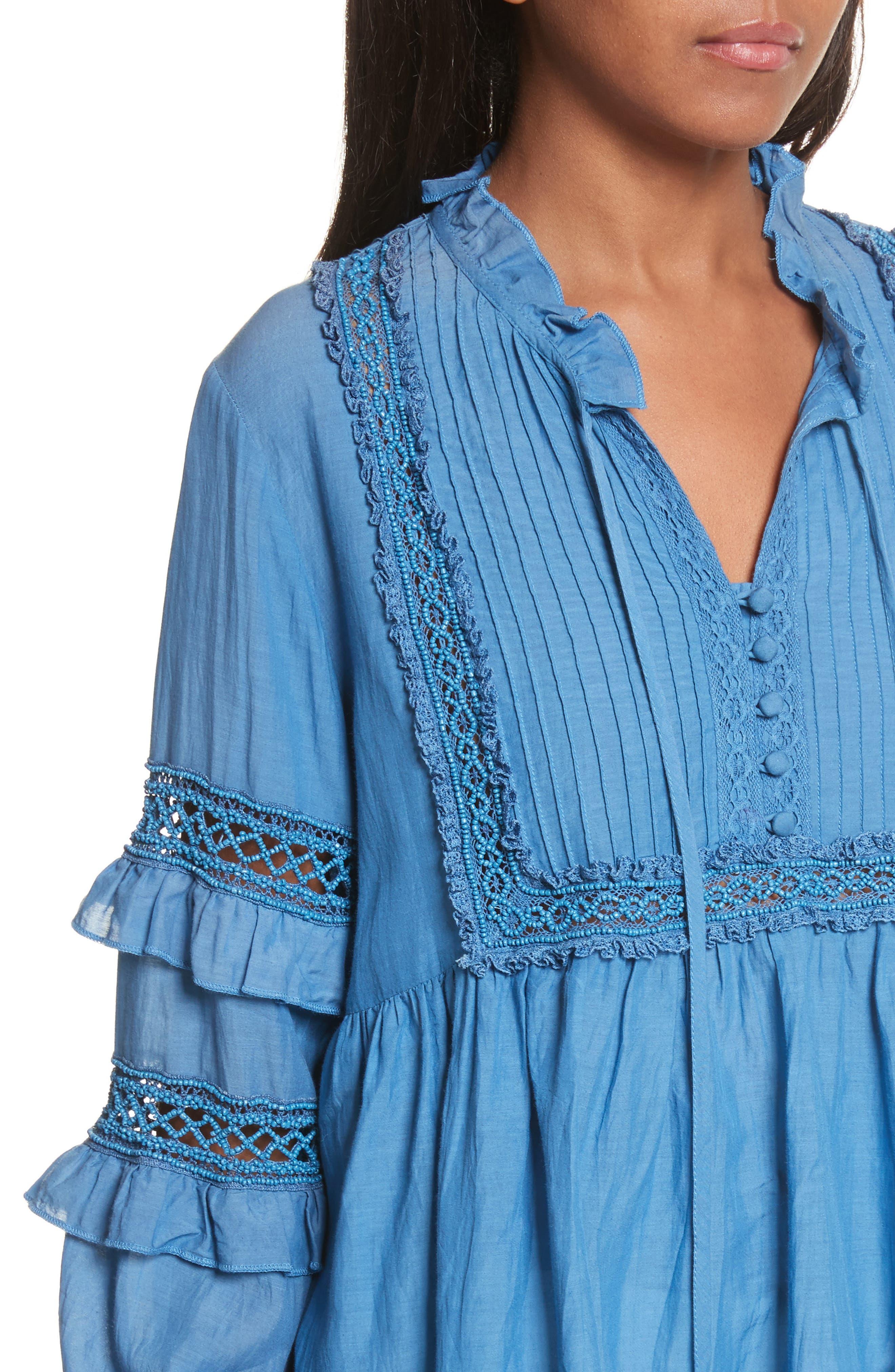 Adaline Ruffle Cotton Blouse,                             Alternate thumbnail 5, color,                             Blue