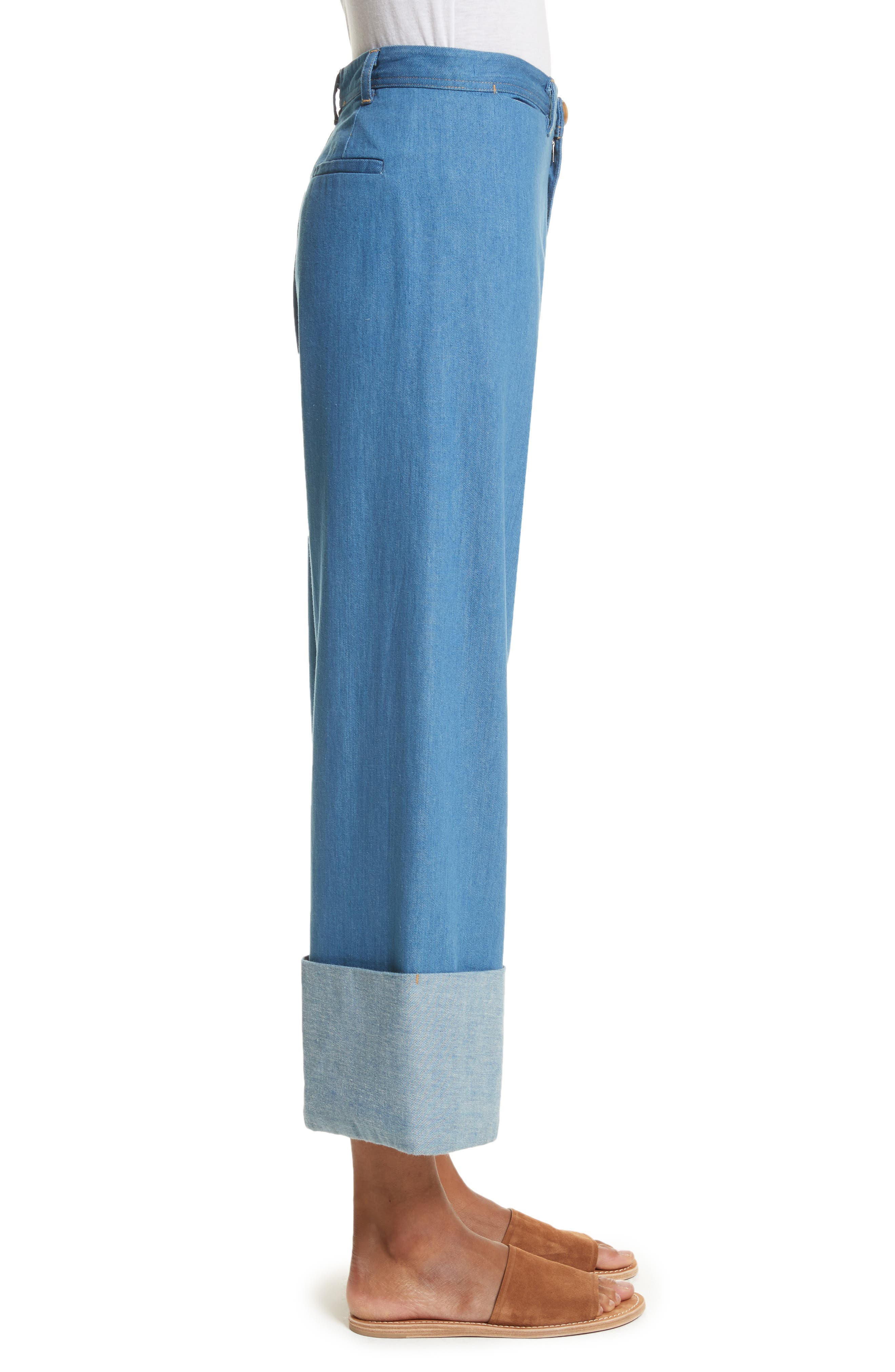 Classic Cuffed Wide Leg Jeans,                             Alternate thumbnail 5, color,                             Light Indigo