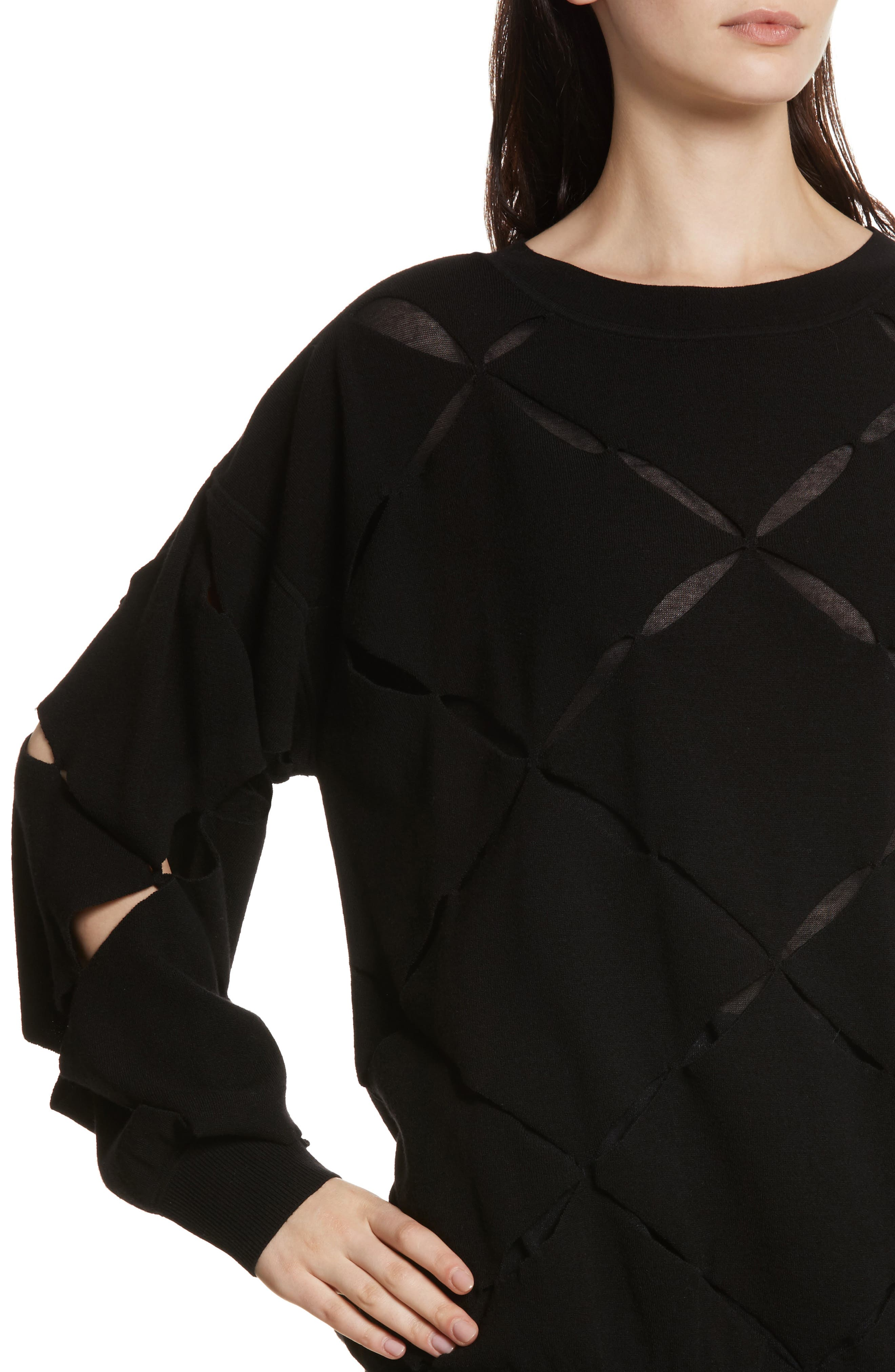 Roz Cutout Sweater,                             Alternate thumbnail 4, color,                             Black