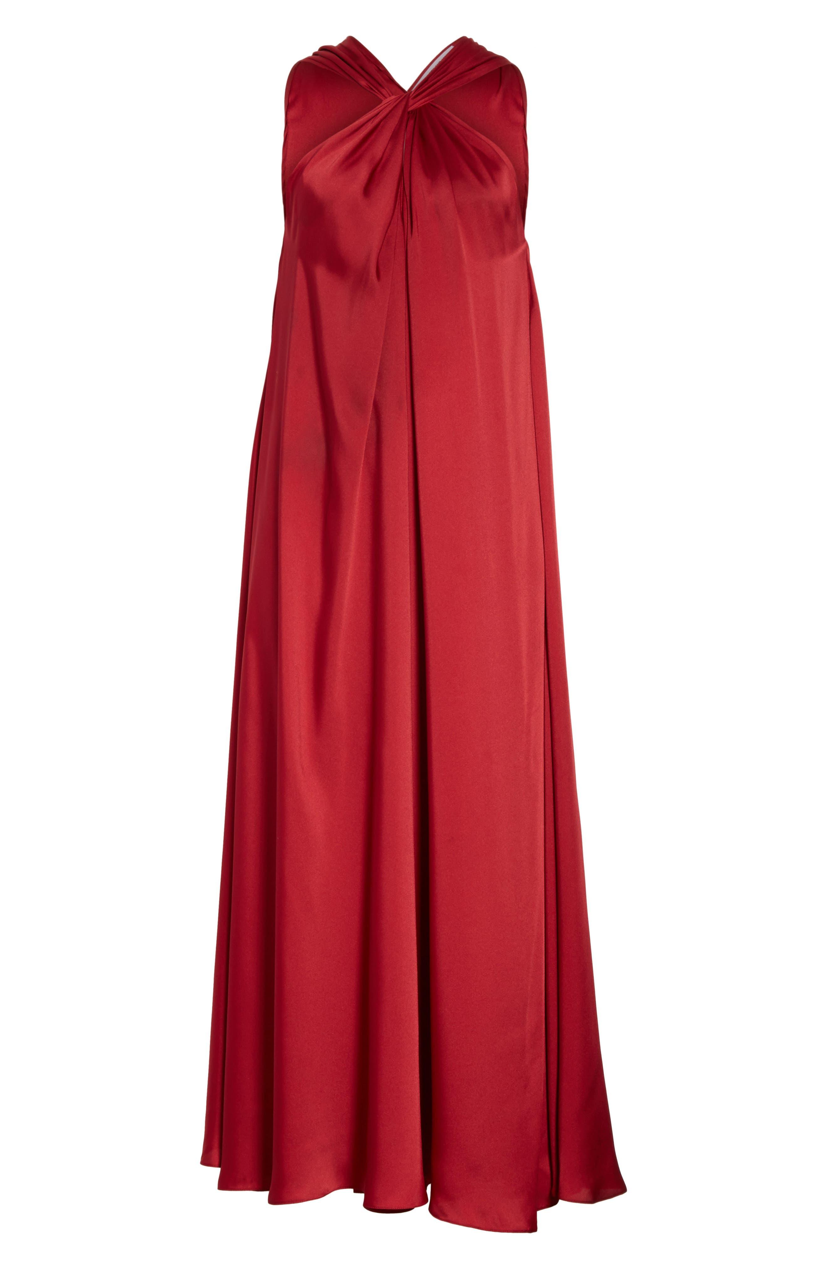 Cavan Twist Neck Satin Dress,                             Alternate thumbnail 6, color,                             Ruby