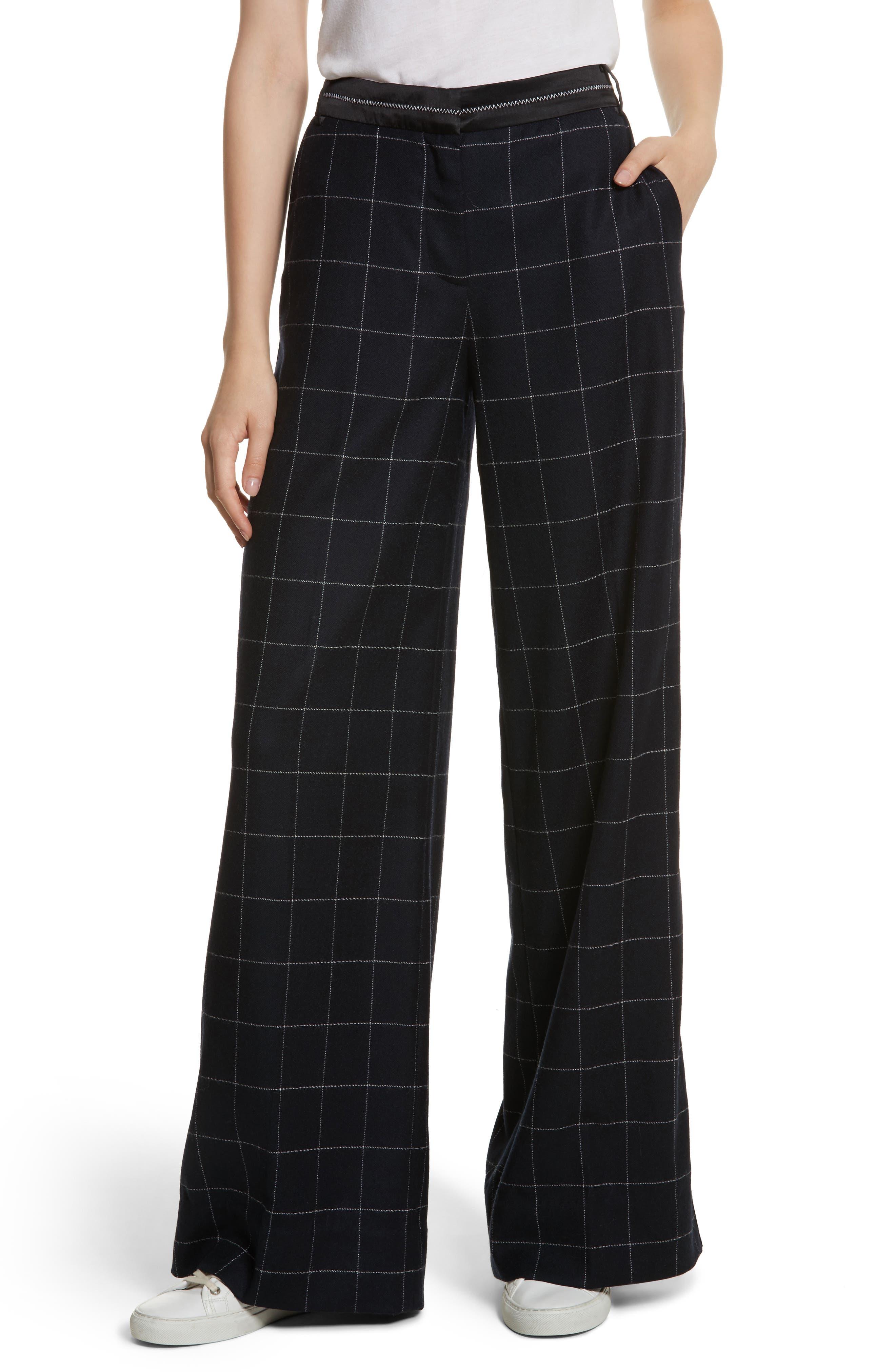 Windowpane Wool Blend Wide Leg Pants,                         Main,                         color, Navy