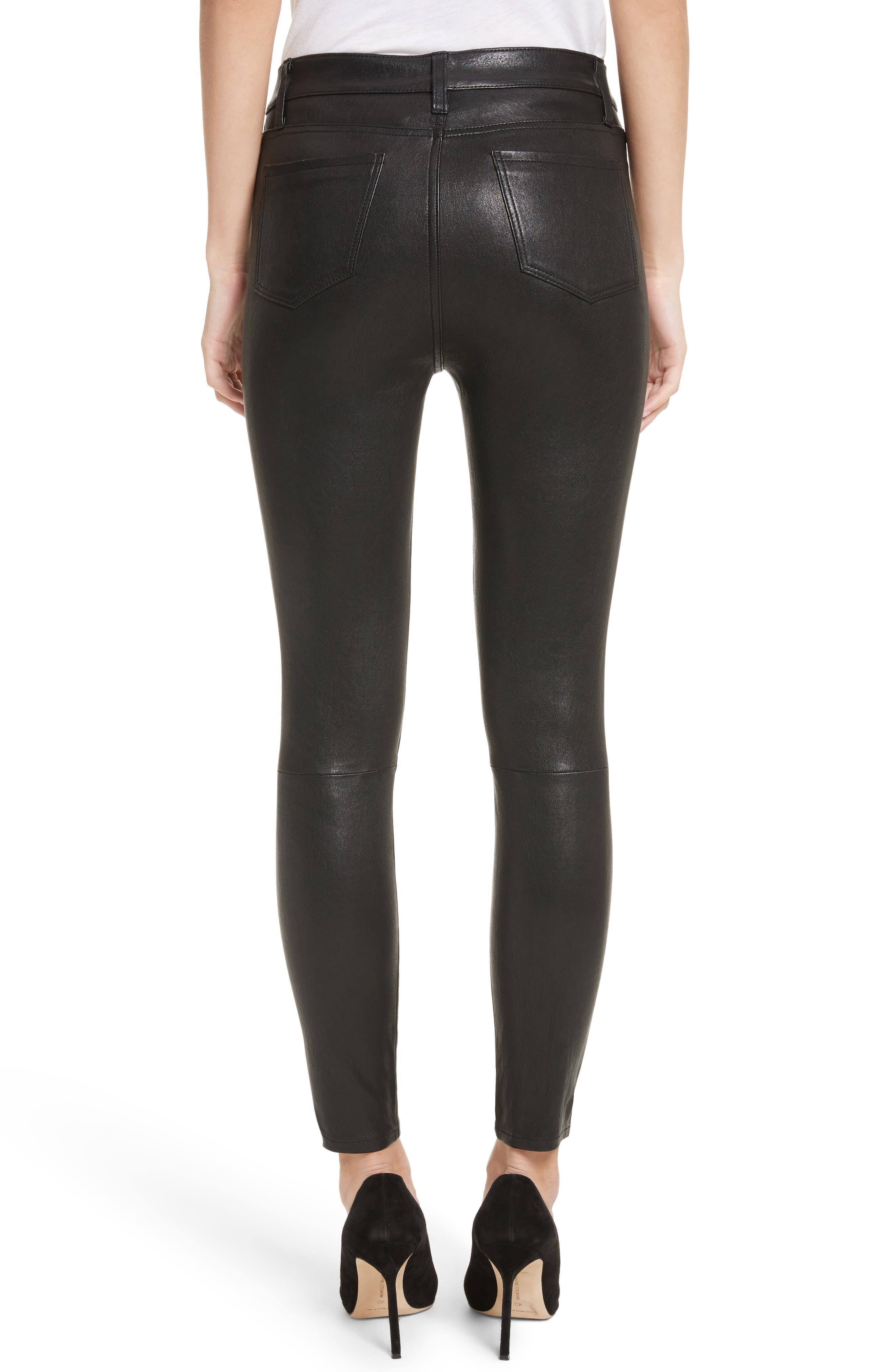 LAGENCE Adelaide High Waist Crop Leather Jeans,                             Alternate thumbnail 2, color,                             Noir