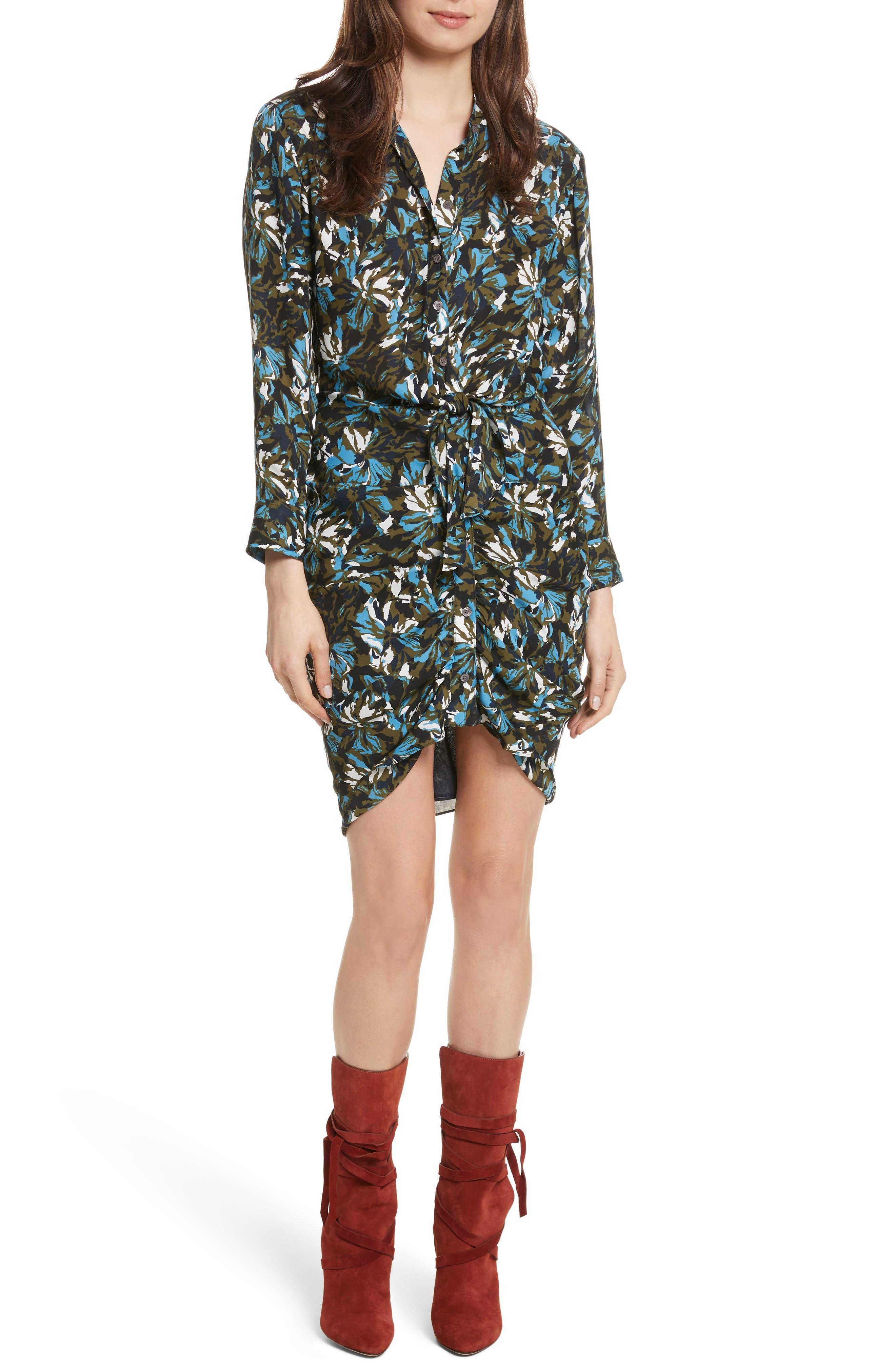 Georgina Floral Print Silk Dress,                         Main,                         color, Navy/ Army/ Blue