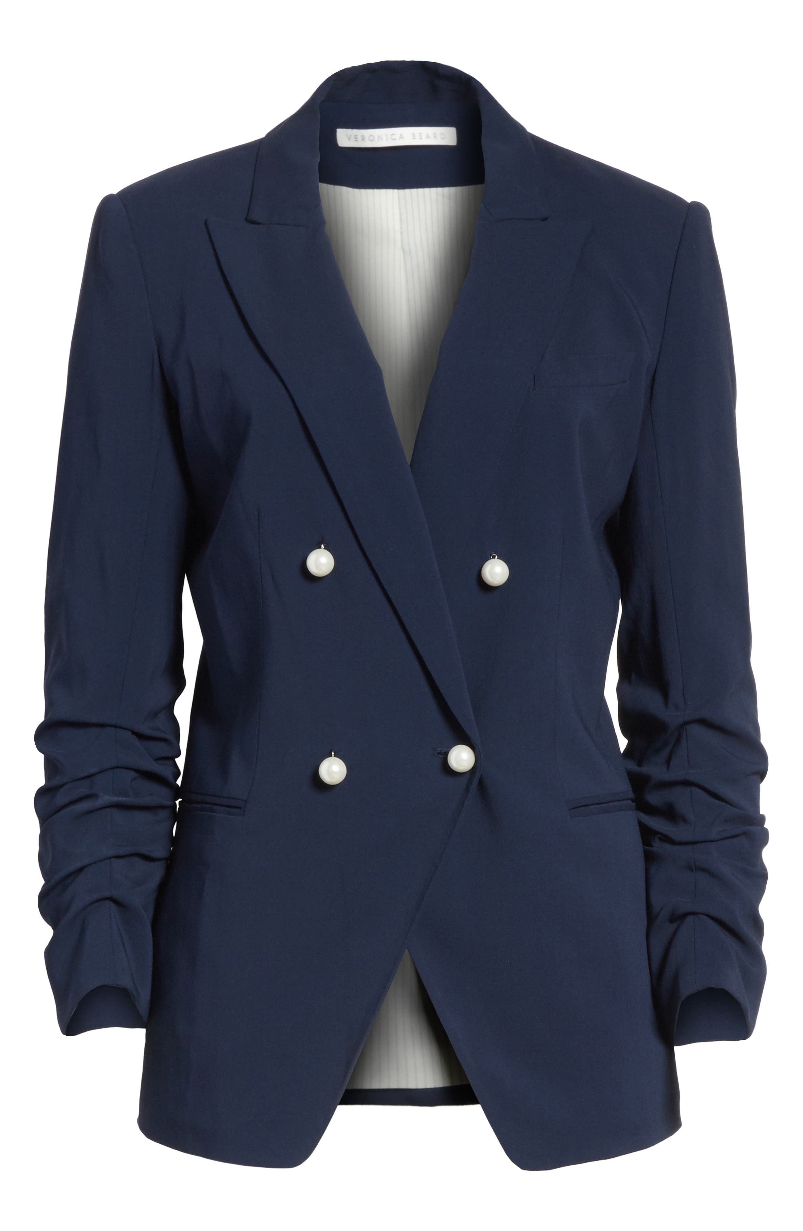 Whit Double Breasted Blazer,                             Alternate thumbnail 6, color,                             Navy