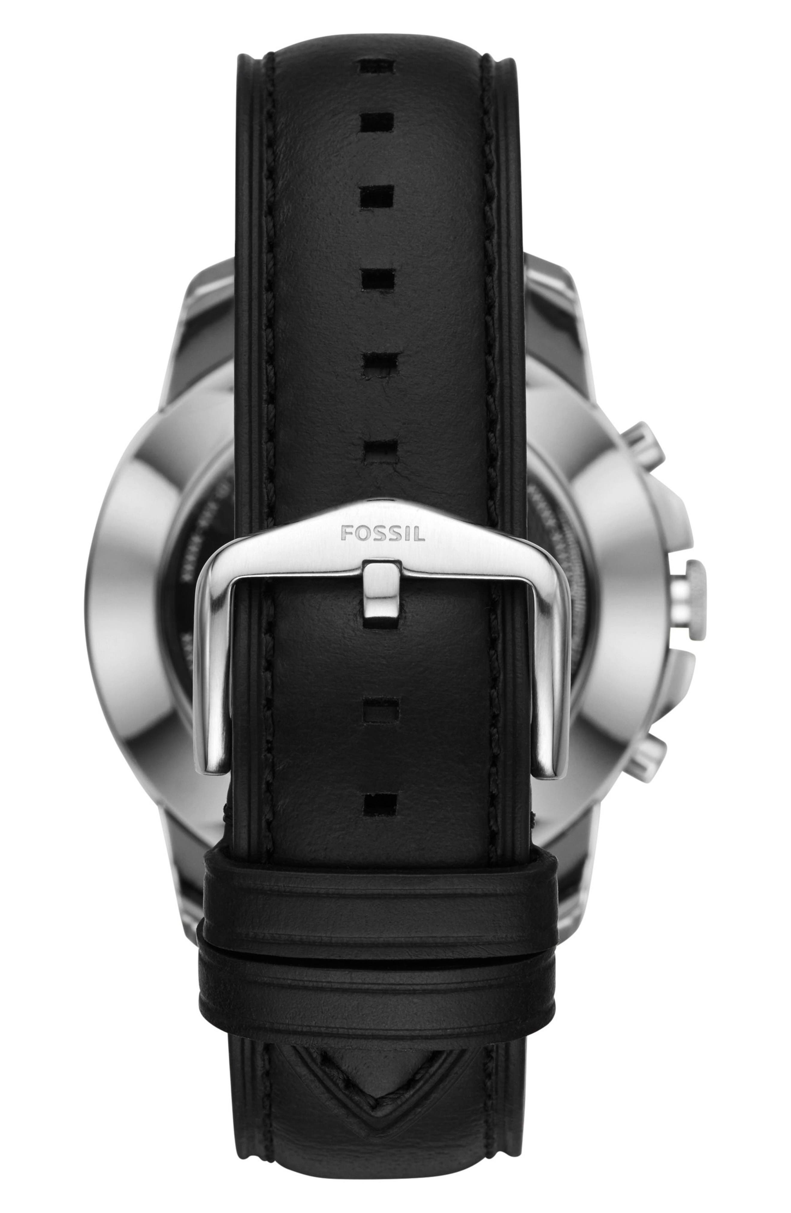 Grant Leather Strap Smart Watch, 44mm,                             Alternate thumbnail 2, color,                             Black/ Silver