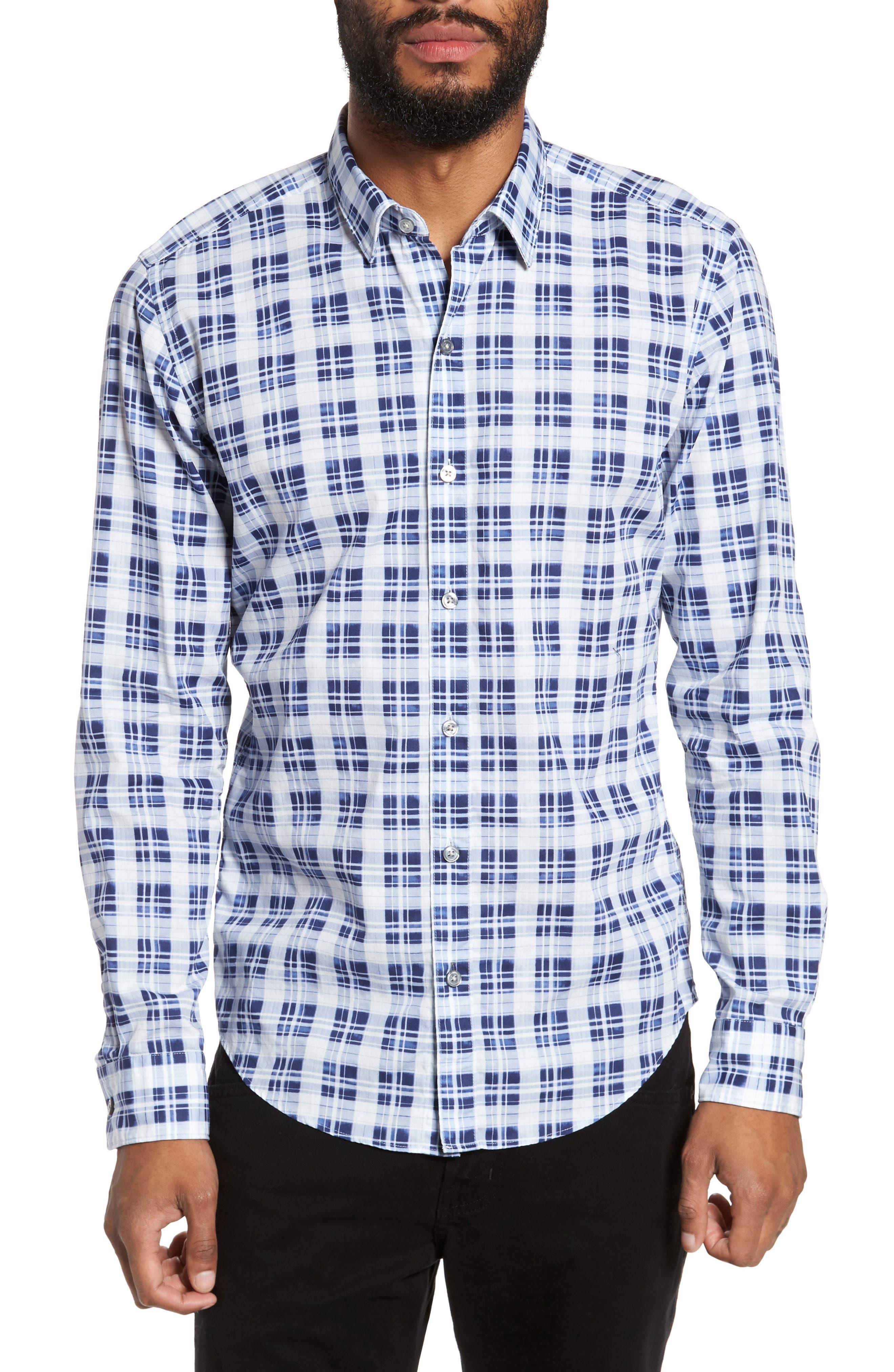 Main Image - BOSS Robbie Sharp Fit Check Sport Shirt