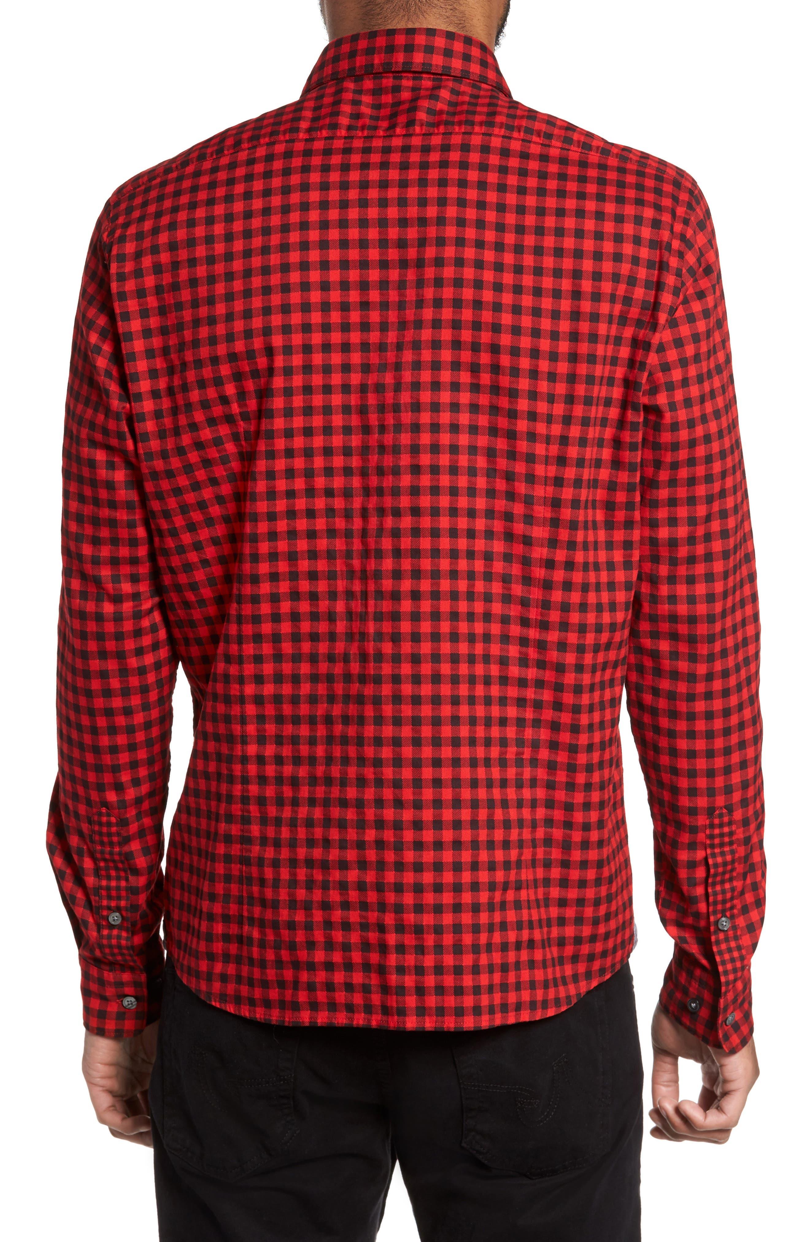Lance Regular Fit Gingham Check Twill Sport Shirt,                             Alternate thumbnail 2, color,                             Red