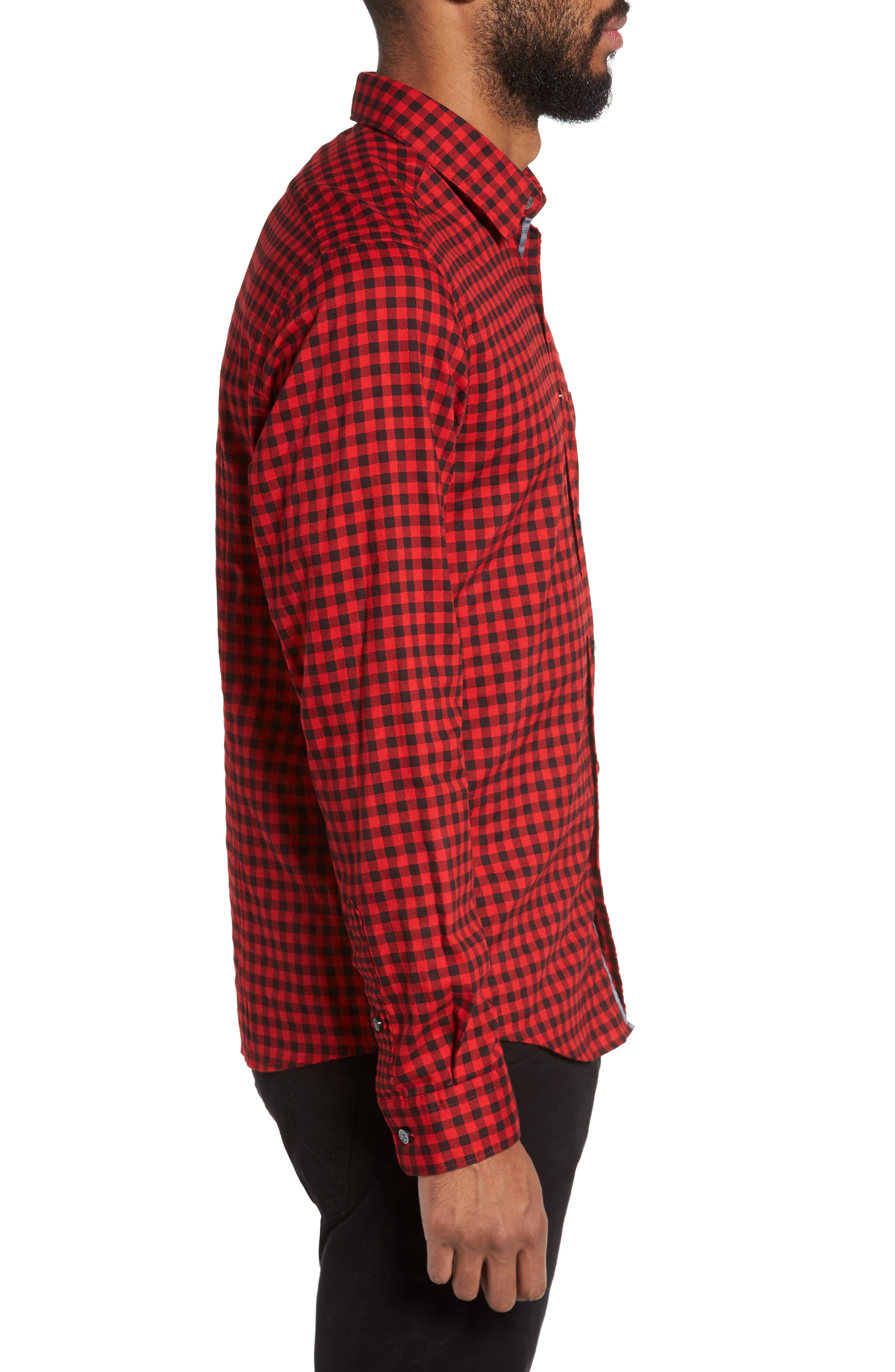 Lance Regular Fit Gingham Check Twill Sport Shirt,                             Alternate thumbnail 3, color,                             Red