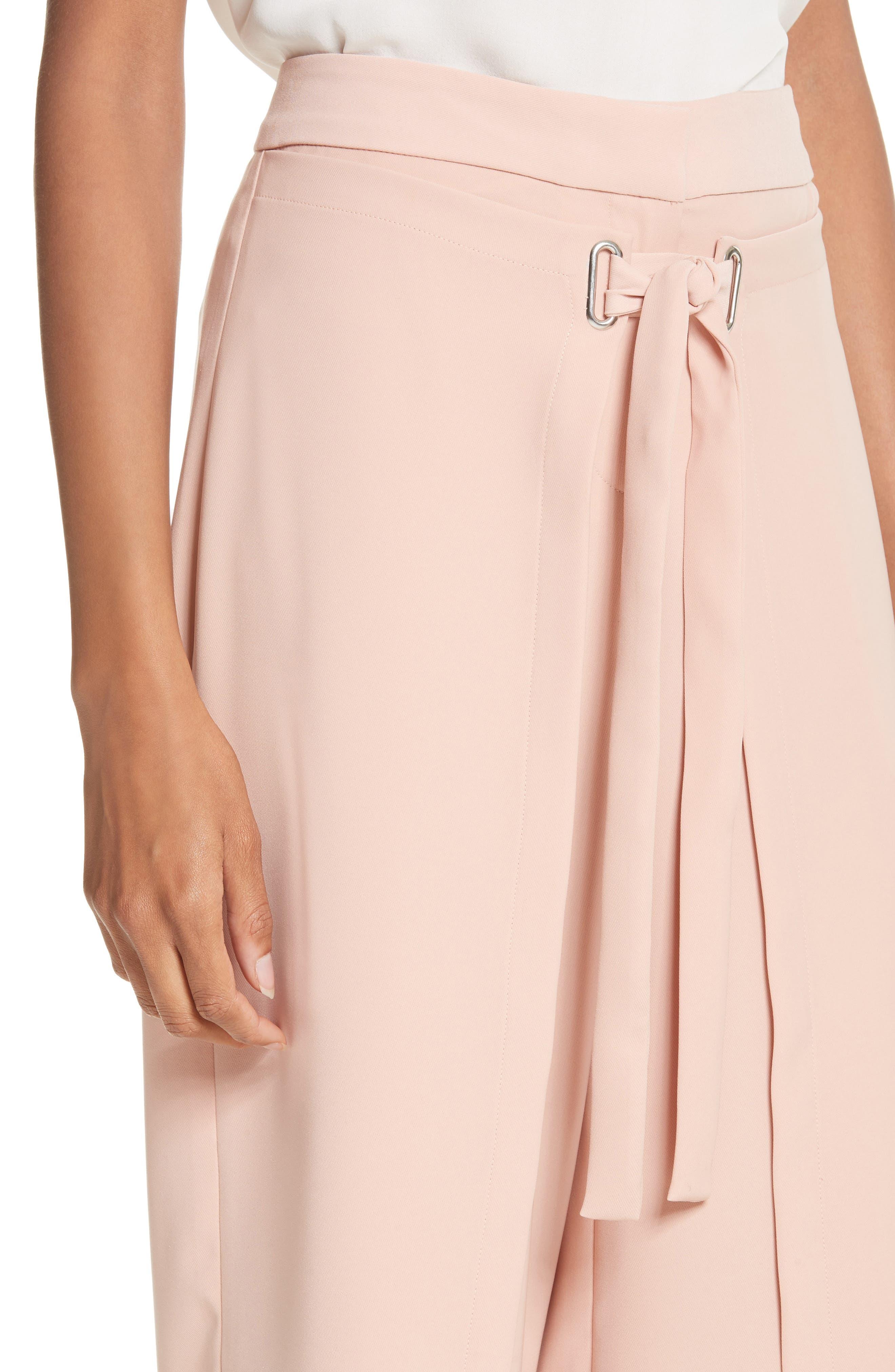 Tie Front Wrap Pants,                             Alternate thumbnail 4, color,                             Blush Pink