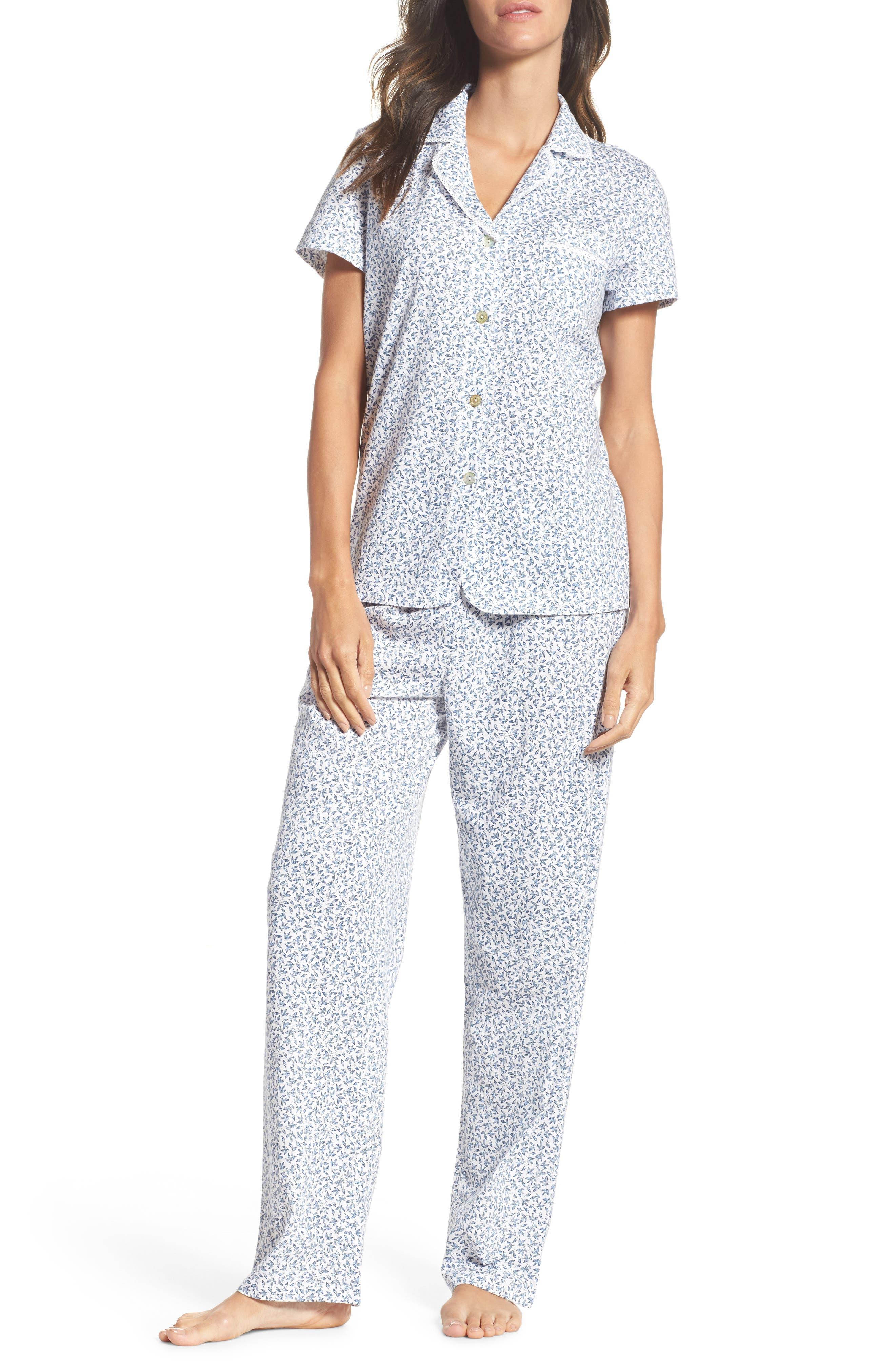 Print Jersey Pajamas,                         Main,                         color, Leaf