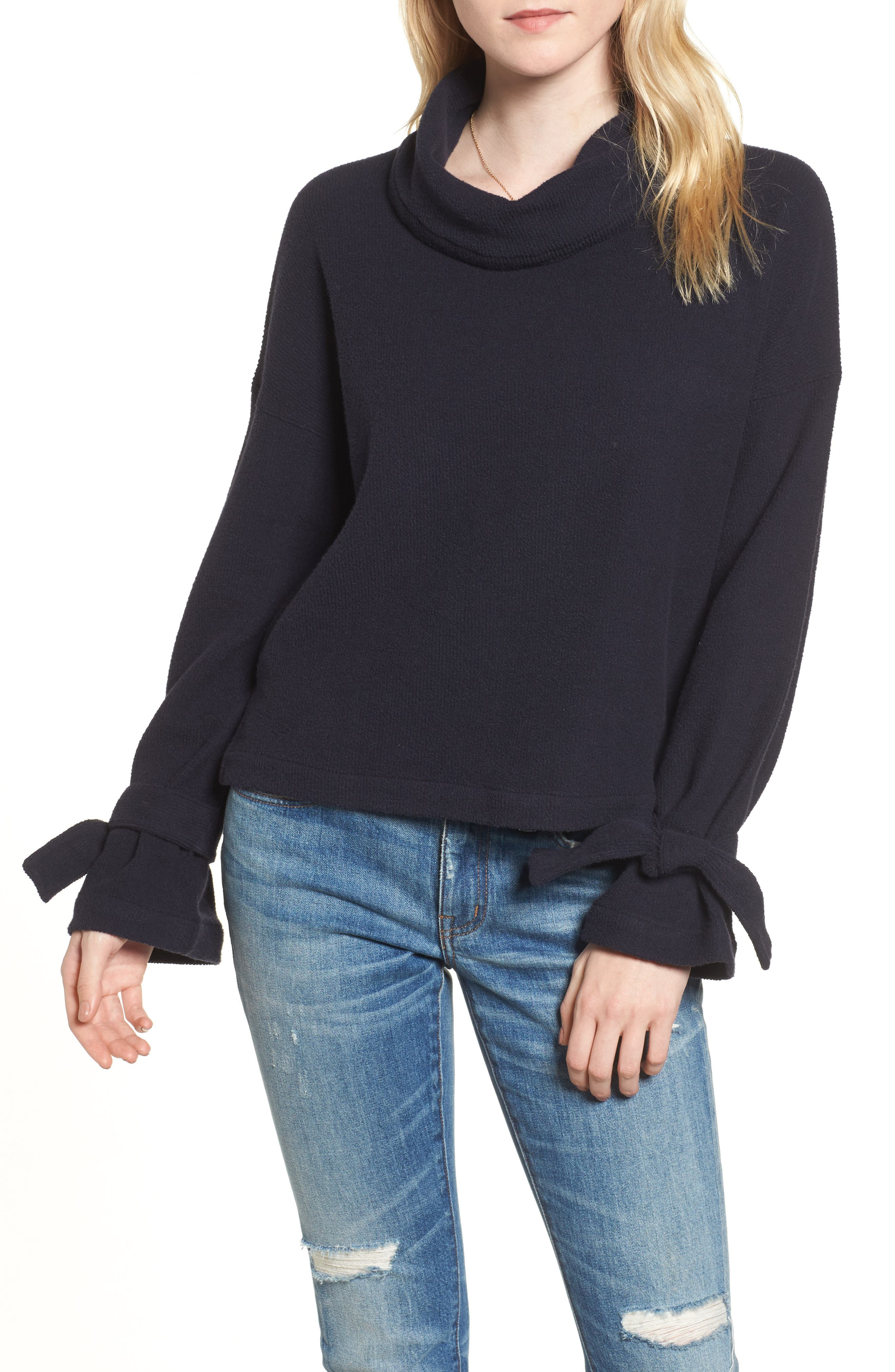 Mock Neck Tie Cuff Top,                             Main thumbnail 1, color,                             Night Vision