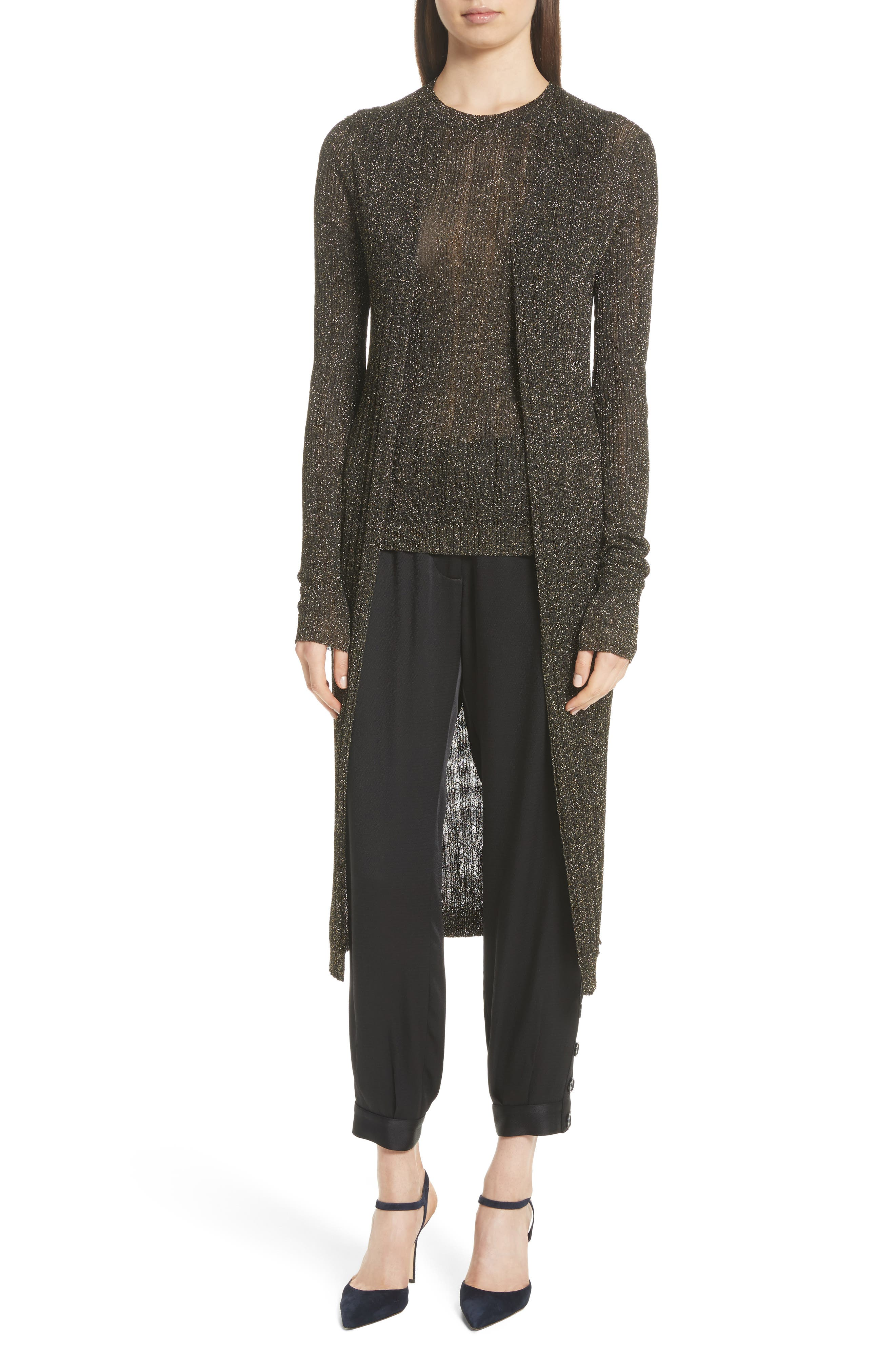 Main Image - Nili Lotan LaSalle Metallic Knit Long Cardigan