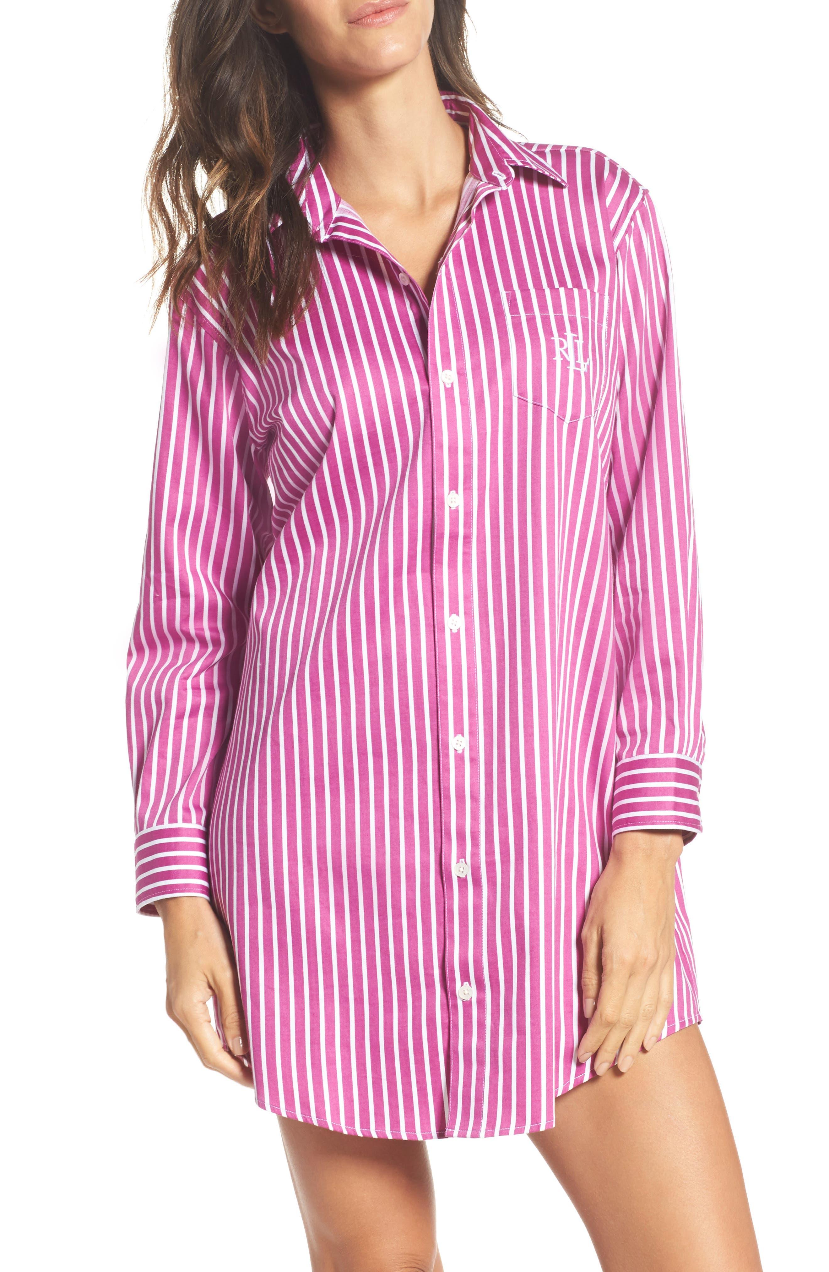 Sleep Shirt,                             Main thumbnail 1, color,                             Pink/ White Stripe