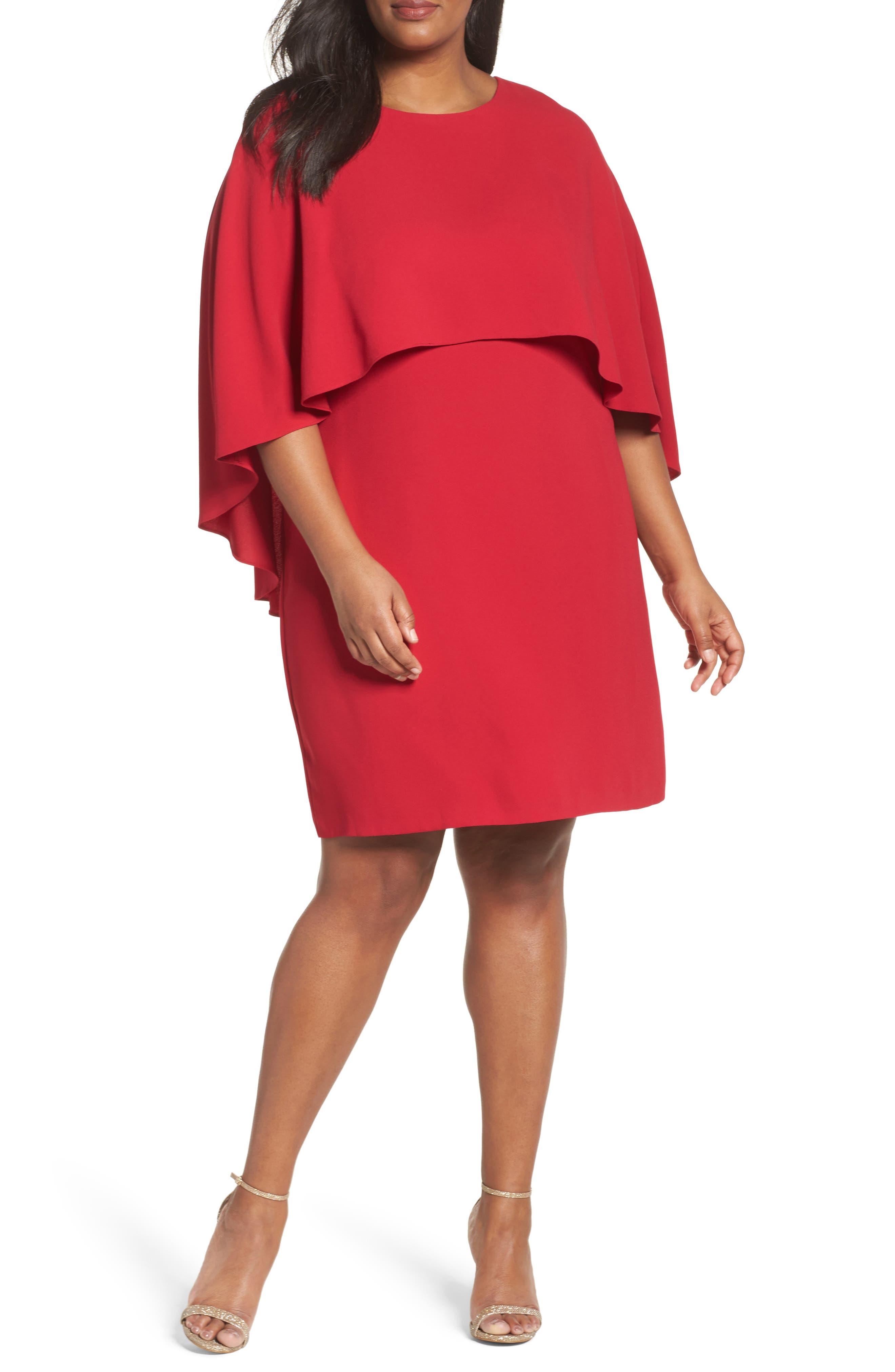 Vince Camuto Matte Shine Overlay Dress (Plus Size)